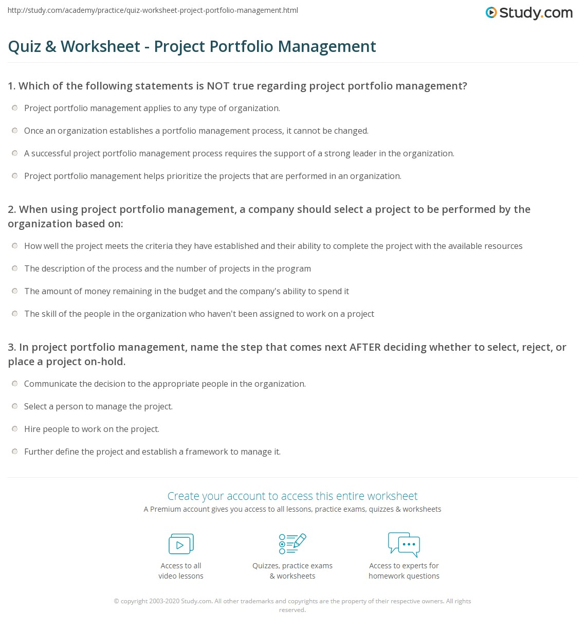 Quiz worksheet project portfolio management study print what is project portfolio management definition process tools worksheet 1betcityfo Choice Image