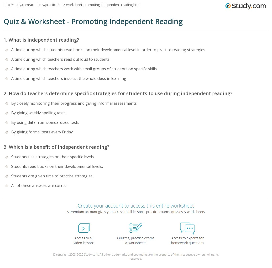 Worksheets Independent Reading Worksheets quiz worksheet promoting independent reading study com print the importance of for developing comprehension worksheet