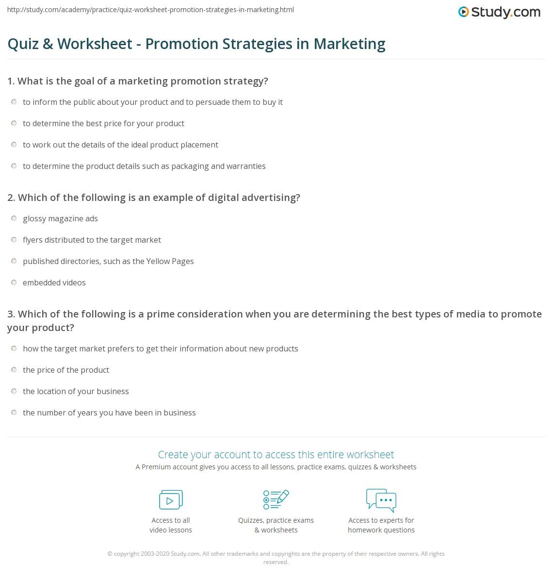Quiz & Worksheet - Promotion Strategies in Marketing | Study.com