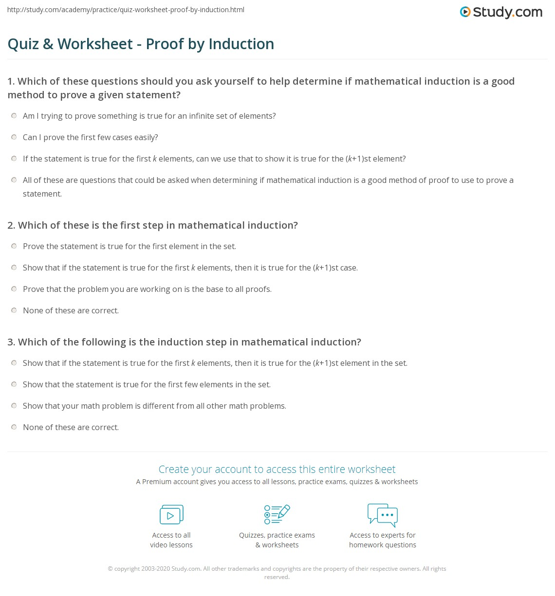 Quiz & Worksheet - Proof by Induction | Study.com