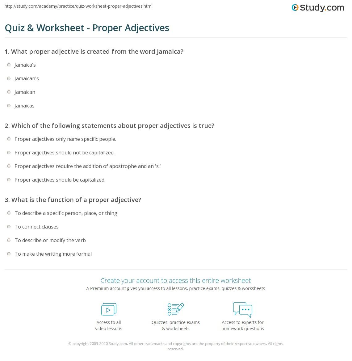 Quiz Worksheet Proper Adjectives – Proper Adjectives Worksheets