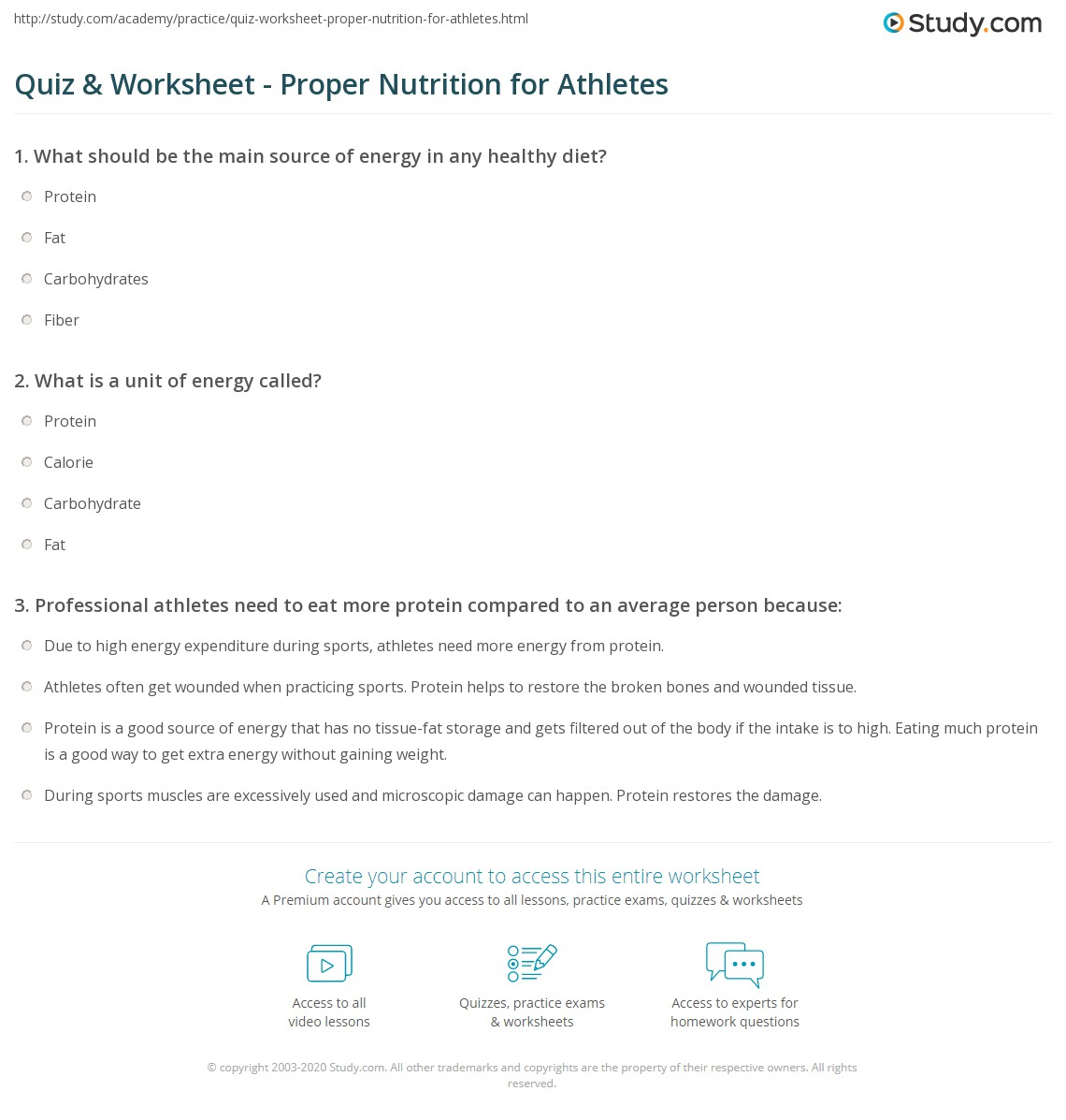 Quiz & Worksheet - Proper Nutrition for Athletes | Study.com