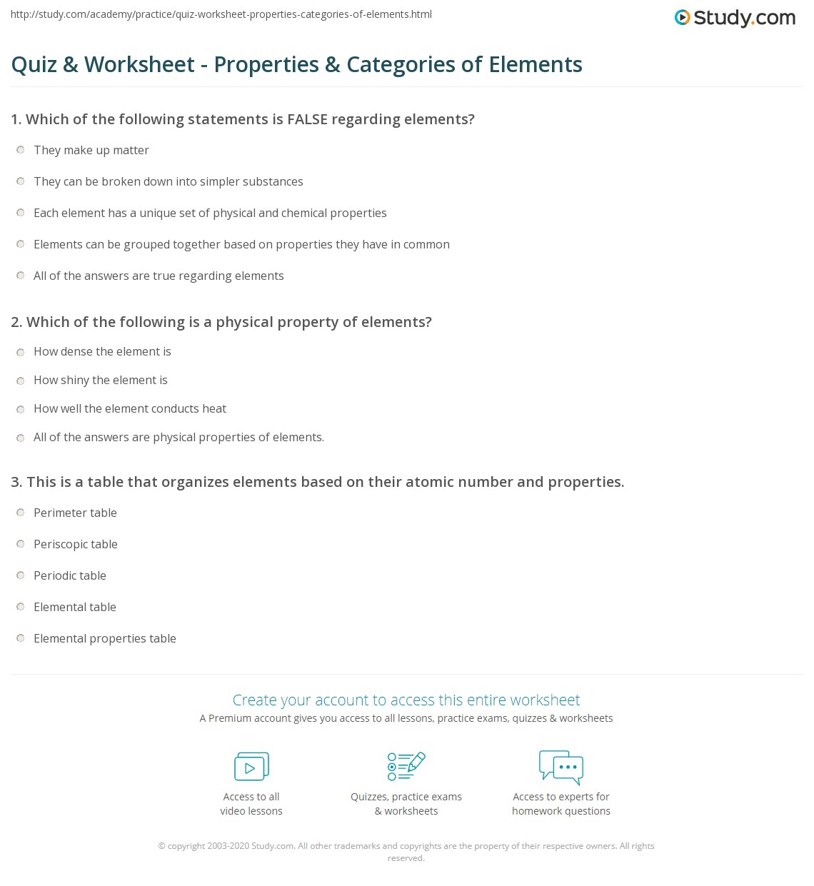 Worksheets Metals Nonmetals Metalloids Worksheet quiz worksheet properties categories of elements study com print physical chemical metals nonmetals metalloids worksheet