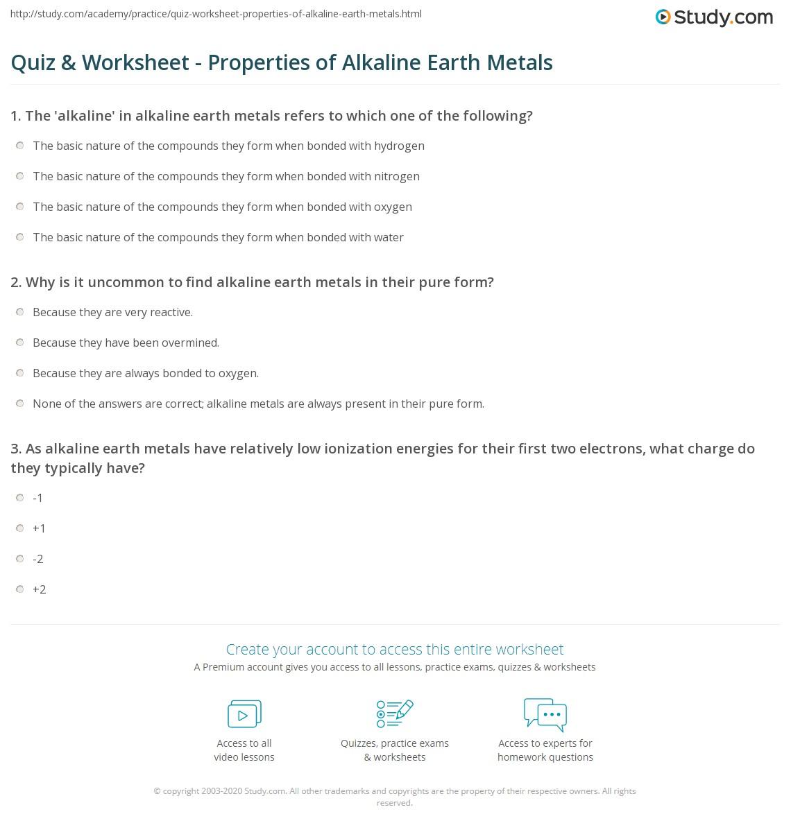 worksheet Metals And Nonmetals Worksheet quiz worksheet properties of alkaline earth metals study com print definition characteristics worksheet