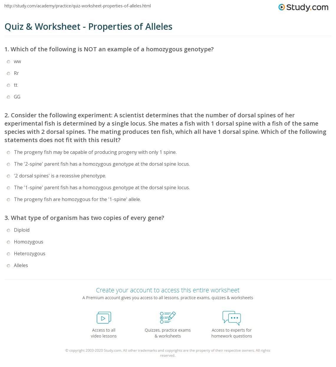 Uncategorized Locus Worksheet quiz worksheet properties of alleles study com consider the following experiment a scientist determines that number dorsal spines her experimental fish is determined by single locu