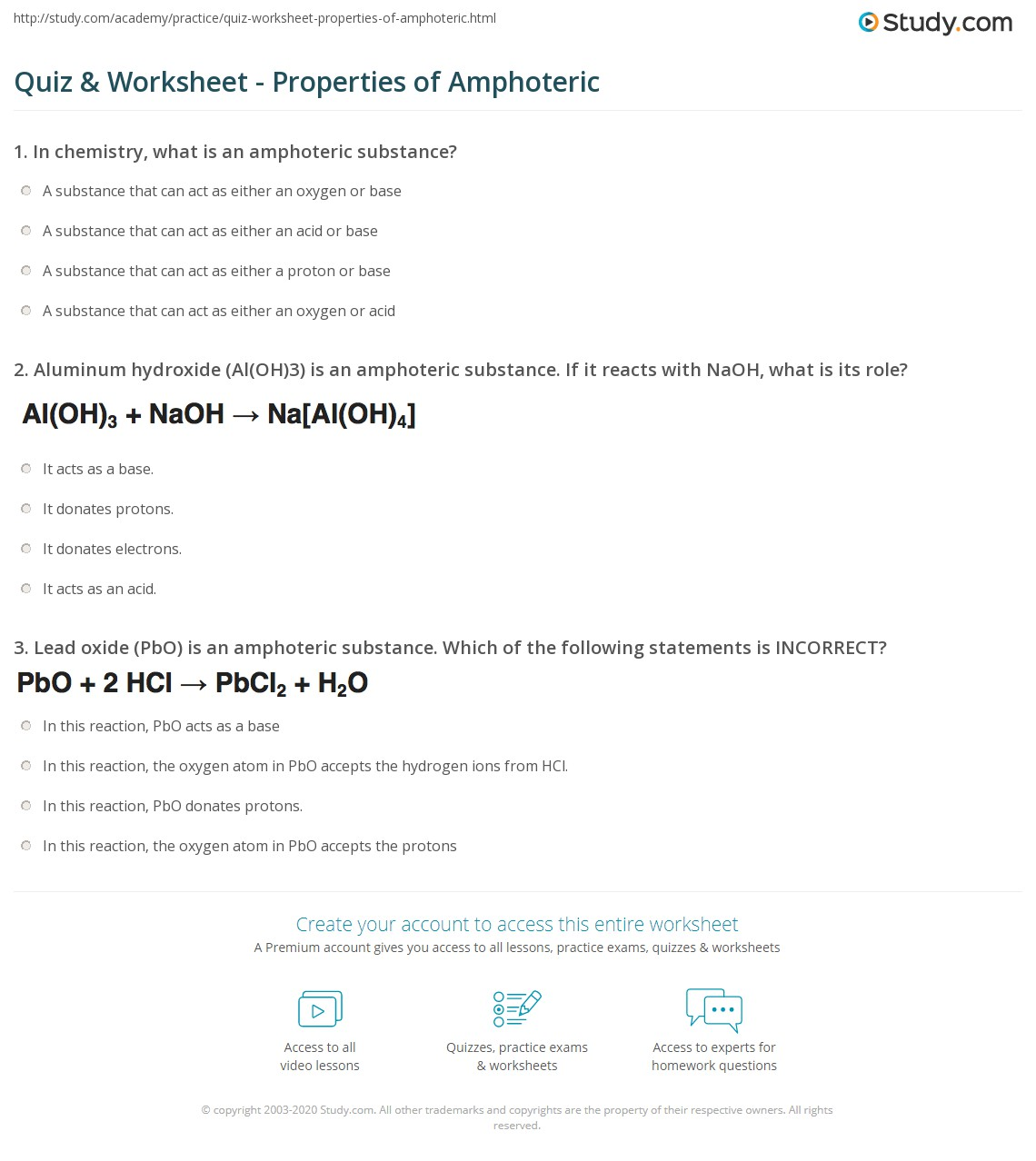 worksheet Bronsted Lowry Acids And Bases Worksheet Answers quiz worksheet properties of amphoteric study com print definition examples worksheet