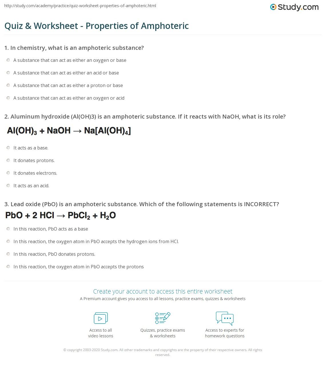 quiz & worksheet - properties of amphoteric | study