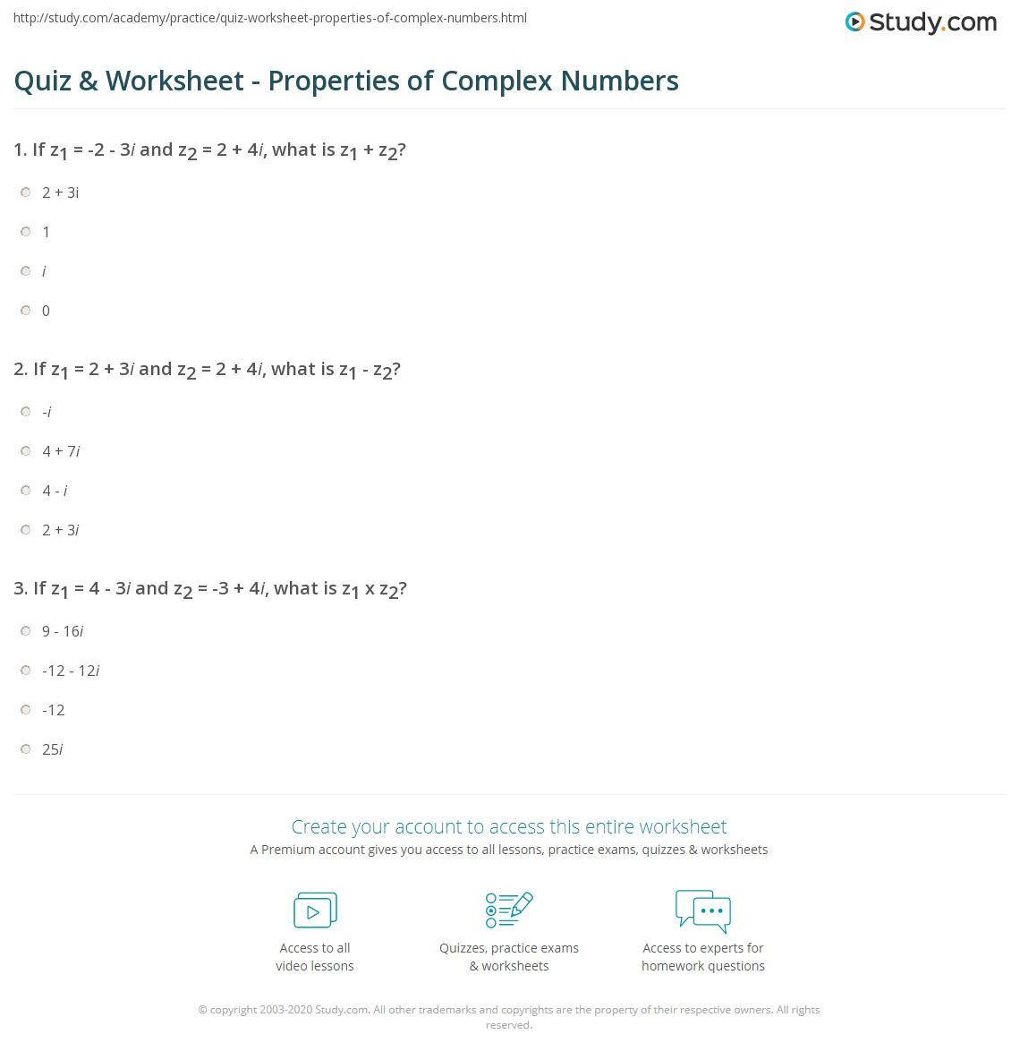 Quiz Worksheet Properties of Complex Numbers – Properties of Numbers Worksheet