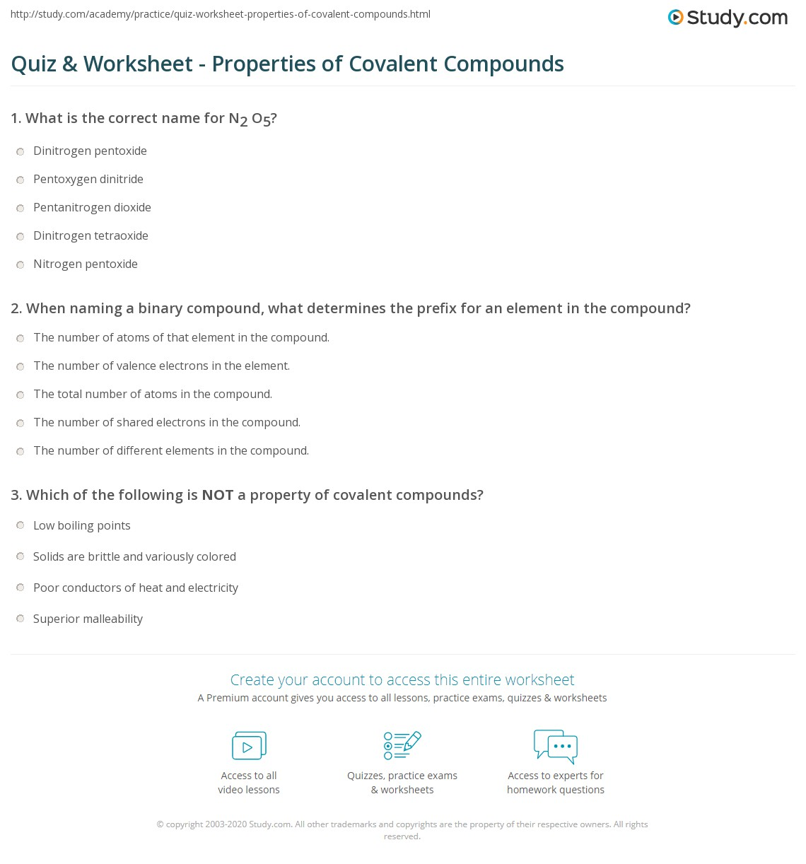 Quiz Worksheet Properties Of Covalent Compounds Study Com