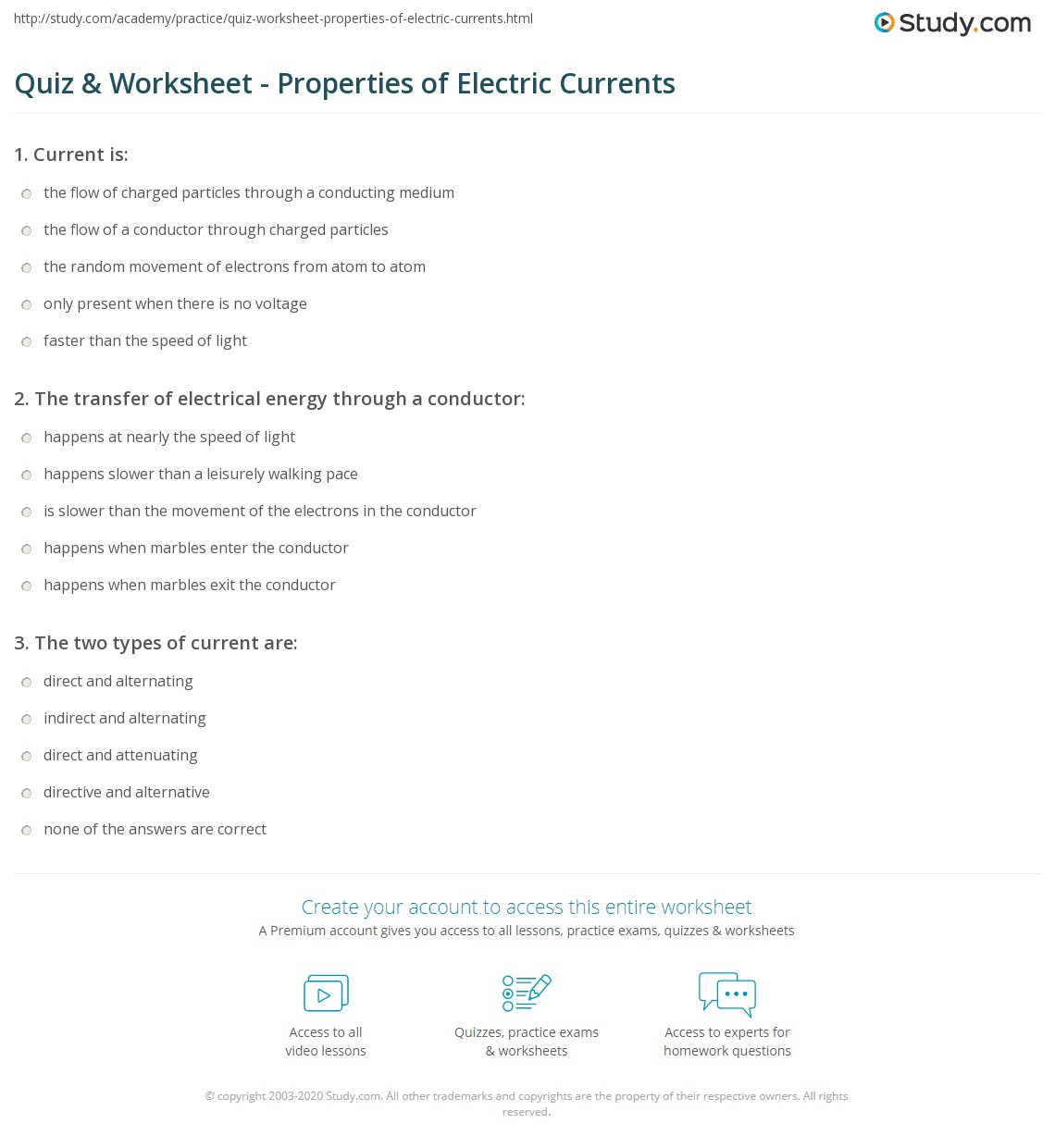 Quiz Worksheet Properties of Electric Currents – Electric Current Worksheet