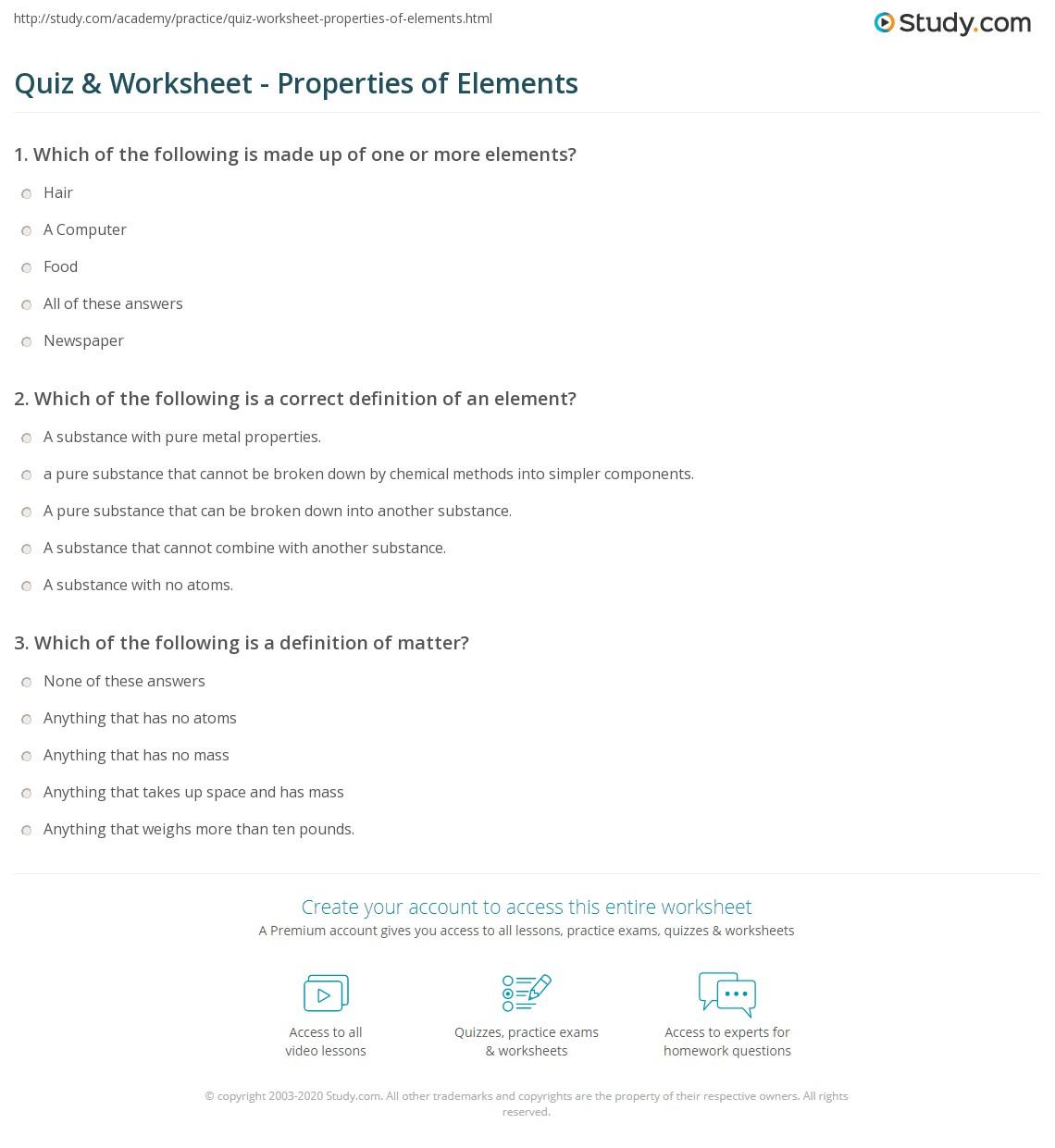 quiz worksheet properties of elements. Black Bedroom Furniture Sets. Home Design Ideas