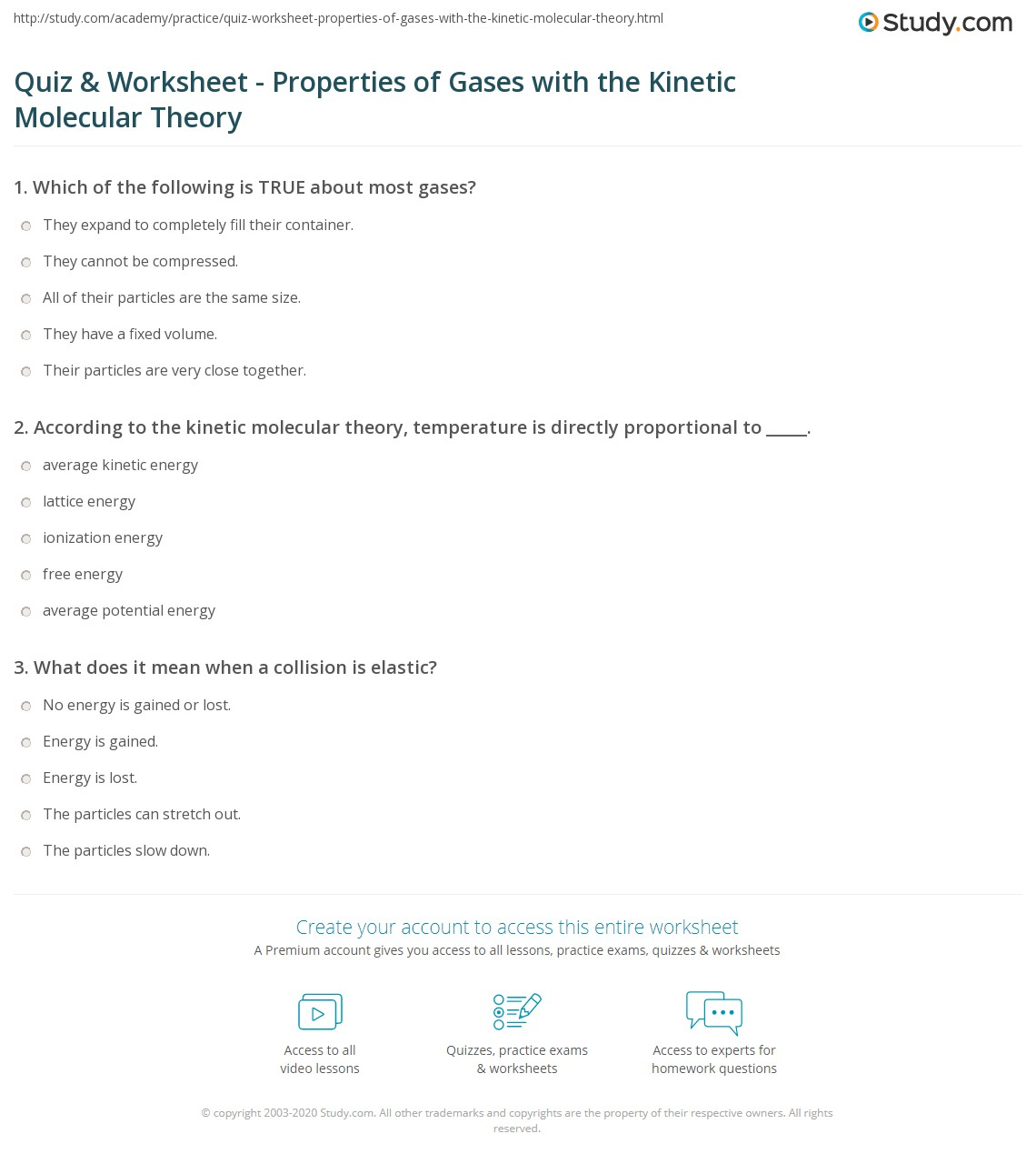Quiz Worksheet Properties Of Gases With The Kinetic