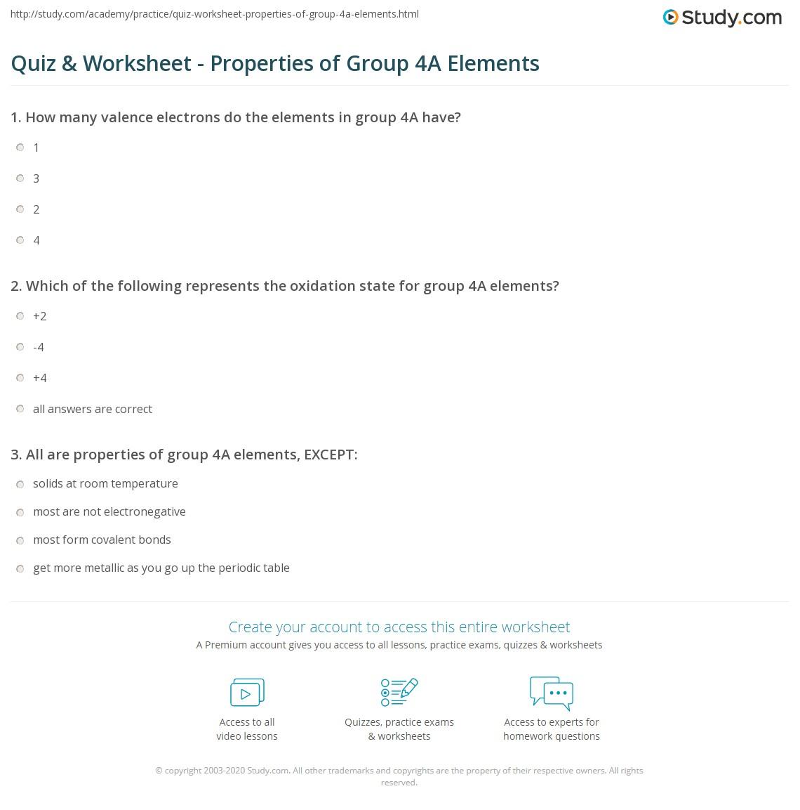 quiz worksheet properties of group 4a elements. Black Bedroom Furniture Sets. Home Design Ideas