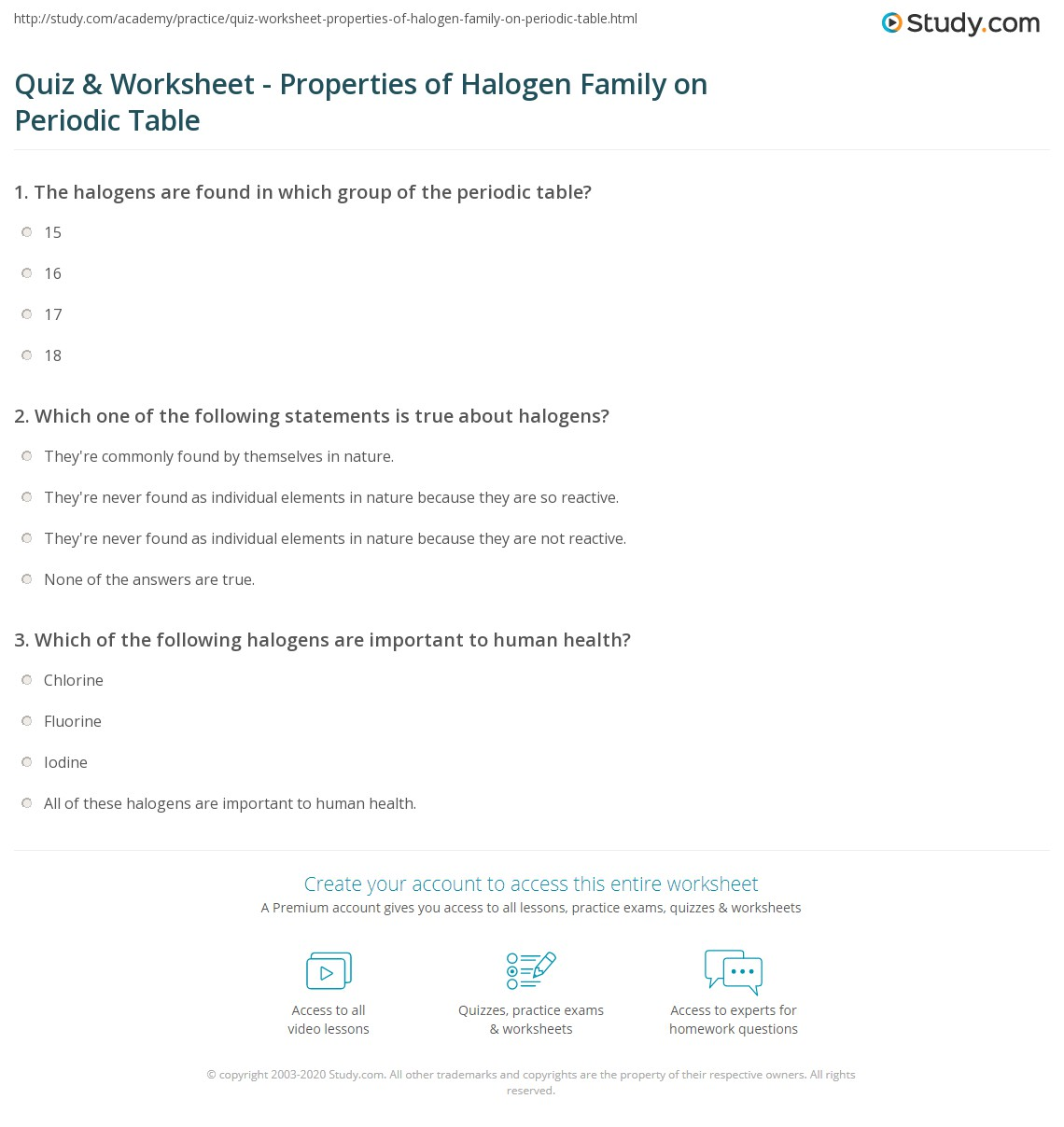 Quiz worksheet properties of halogen family on periodic table print halogens on the periodic table properties reactivity uses worksheet urtaz Gallery