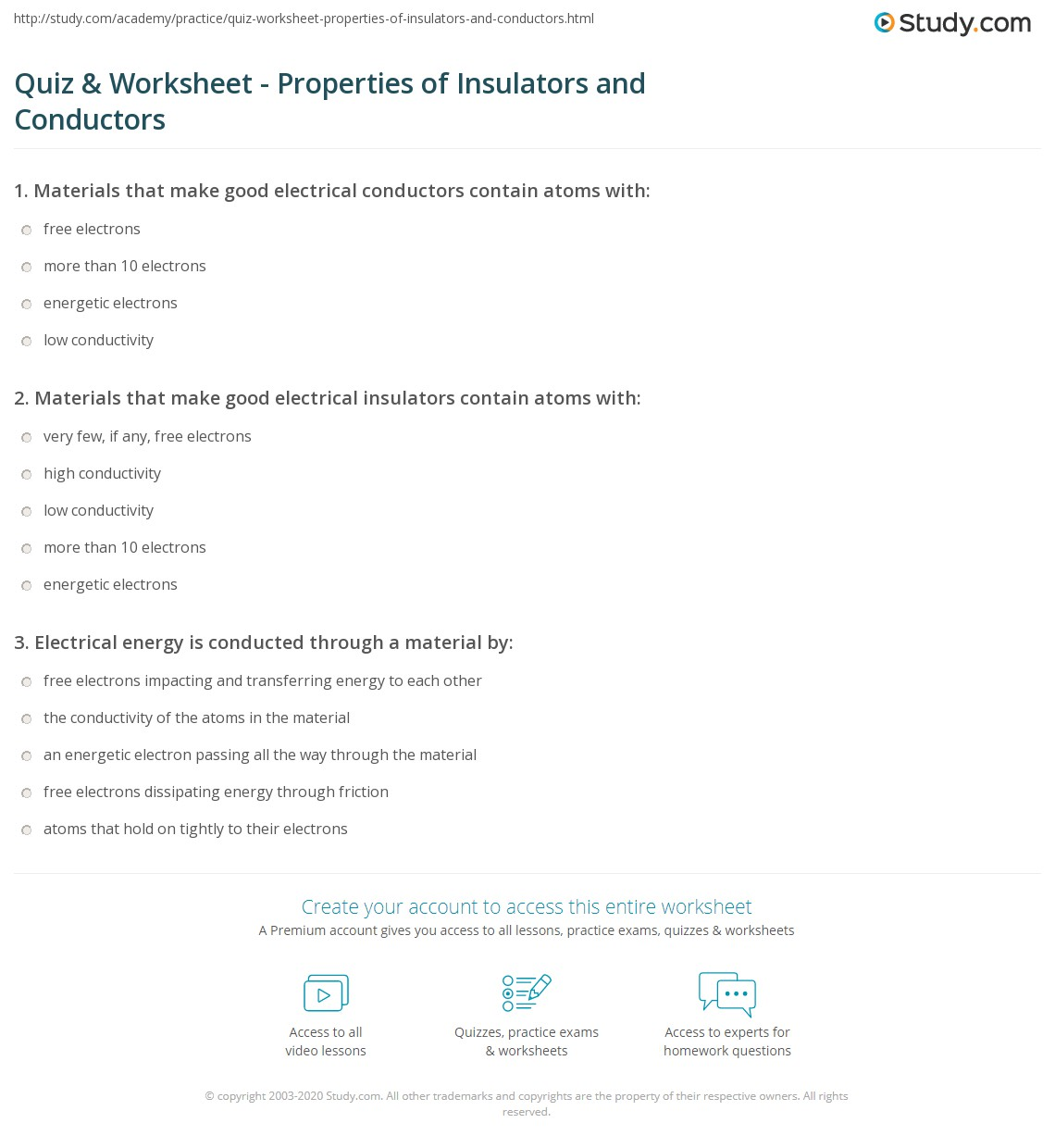 Quiz Worksheet Properties Of Insulators And Conductors Study
