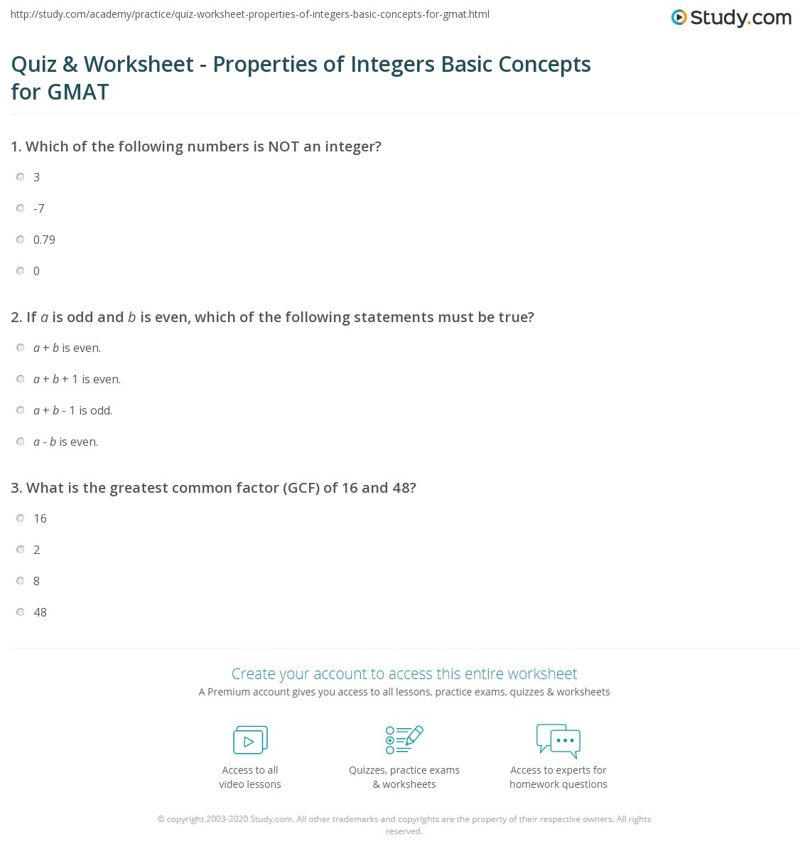 Quiz & Worksheet Properties of Integers Basic Concepts for GMAT
