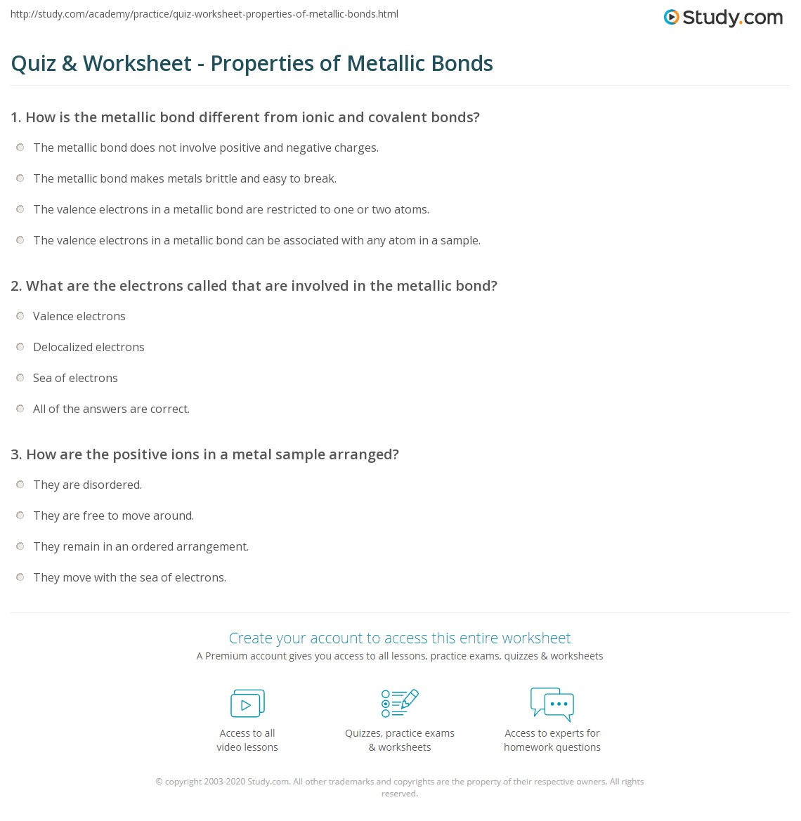 Quiz & Worksheet - Properties of Metallic Bonds | Study.com