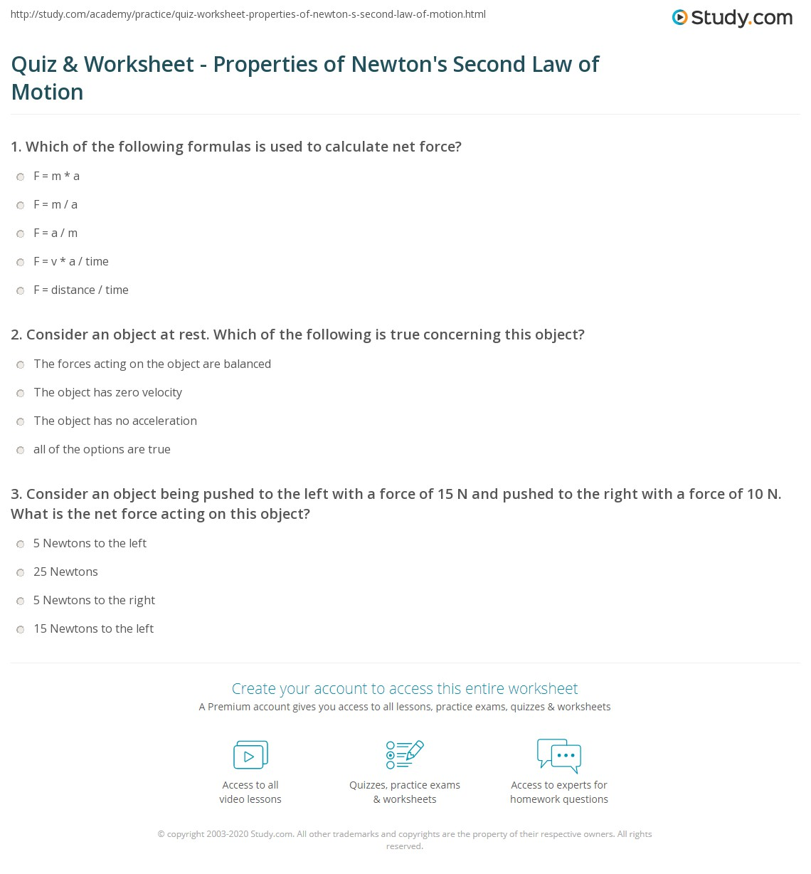 quiz worksheet properties of newton 39 s second law of motion. Black Bedroom Furniture Sets. Home Design Ideas