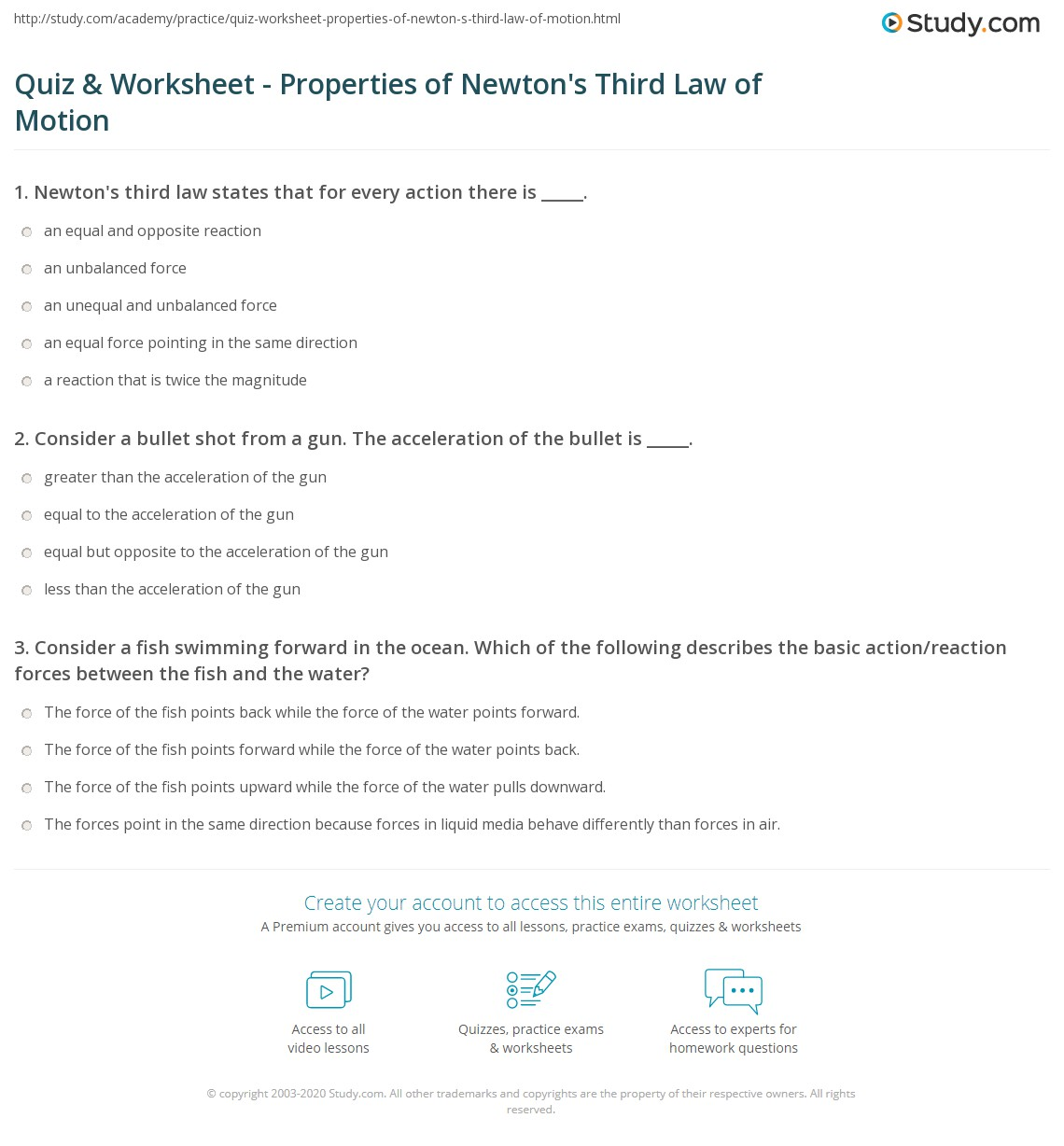 Quiz & Worksheet - Properties of Newton\'s Third Law of Motion ...