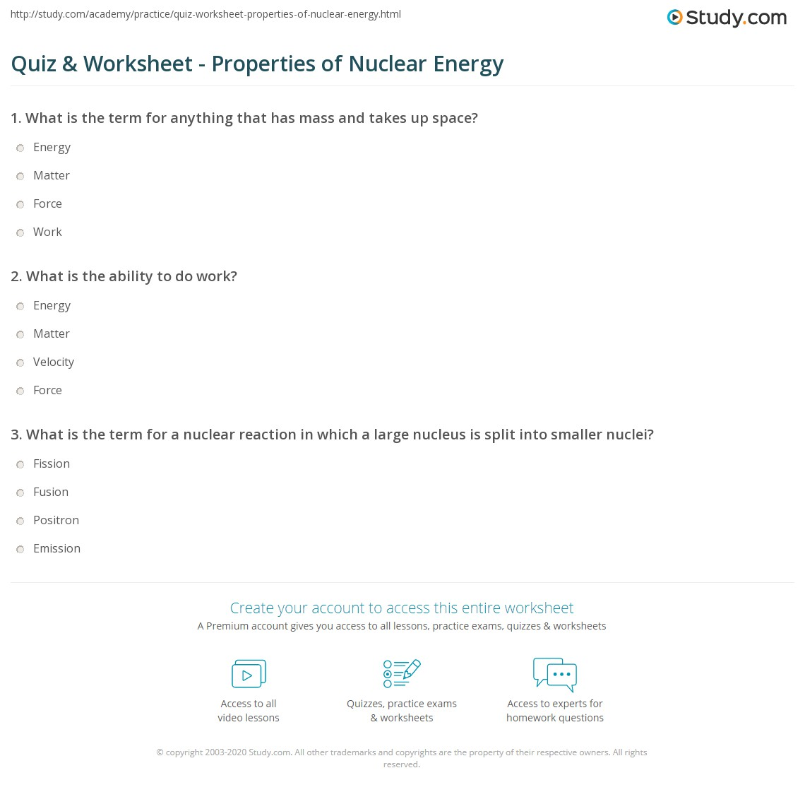 Quiz & Worksheet - Properties of Nuclear Energy | Study.com