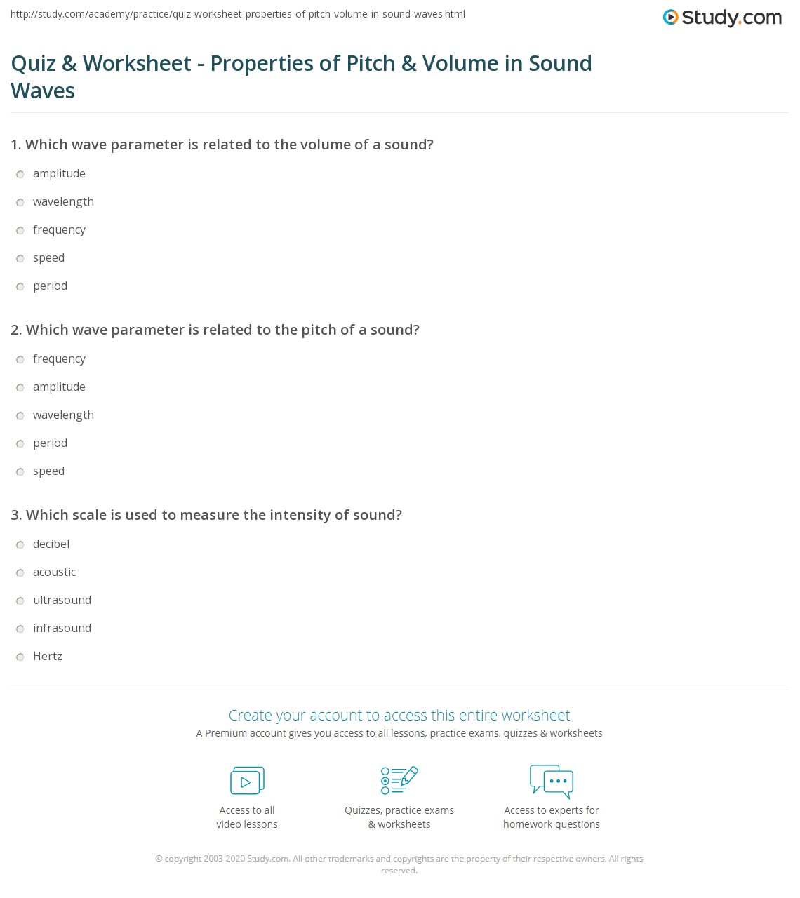 quiz worksheet properties of pitch volume in sound waves. Black Bedroom Furniture Sets. Home Design Ideas