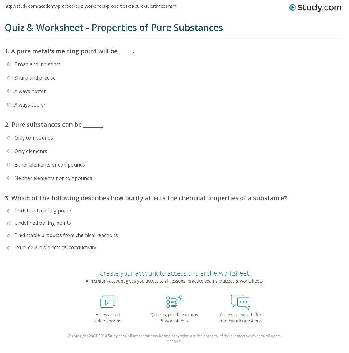 quiz & worksheet - properties of pure substances | study