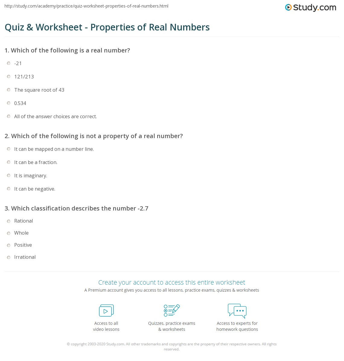 Quiz & Worksheet - Properties of Real Numbers | Study.com