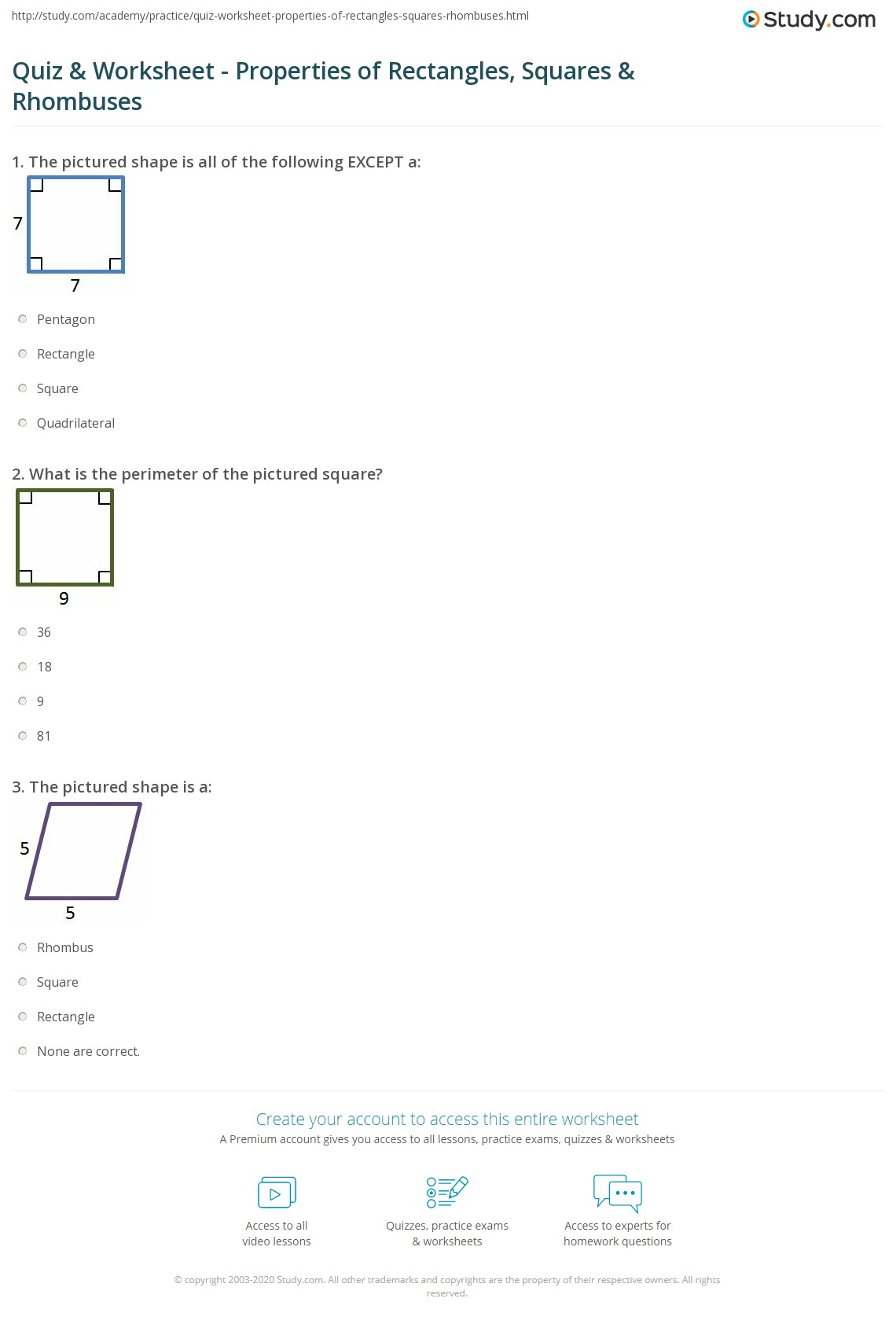 Quiz Worksheet Properties Of Rectangles Squares Rhombuses