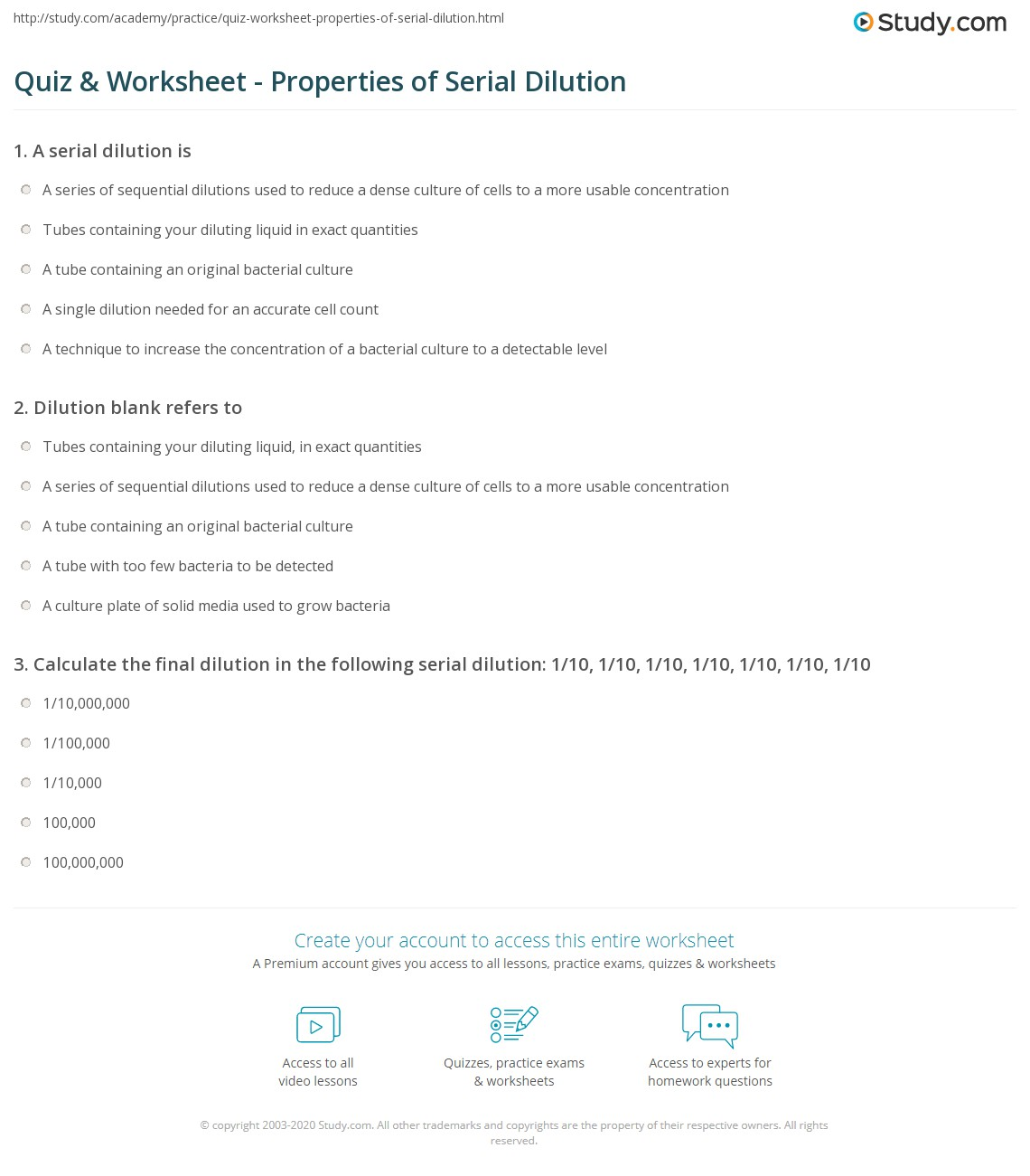 Worksheets Dilution Worksheet quiz worksheet properties of serial dilution study com print in microbiology calculation method technique worksheet