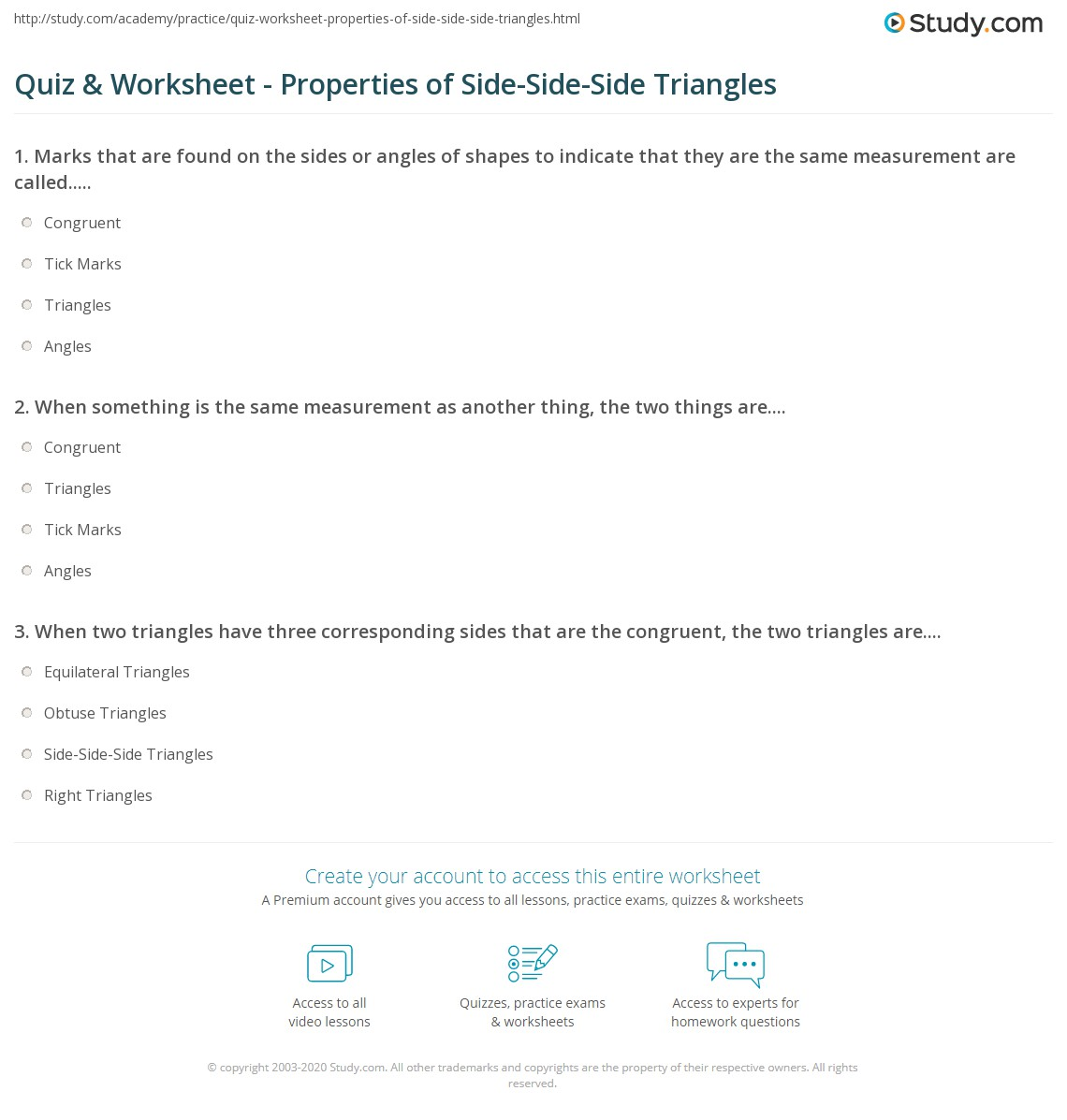 Quiz Worksheet Properties of SideSideSide Triangles – Congruent Angles Worksheet