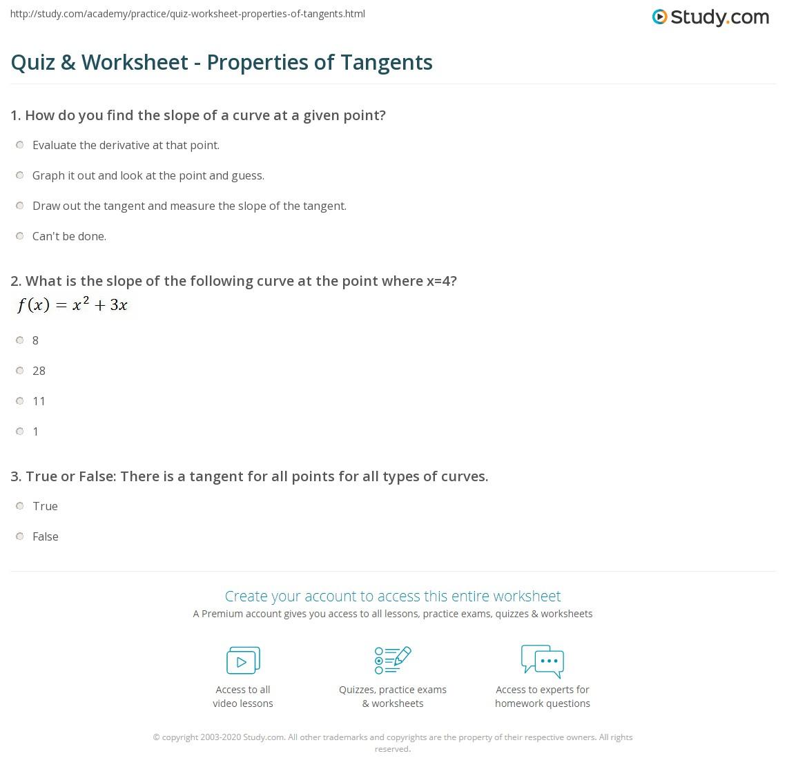Print Tangents: Definition \u0026 Properties Worksheet