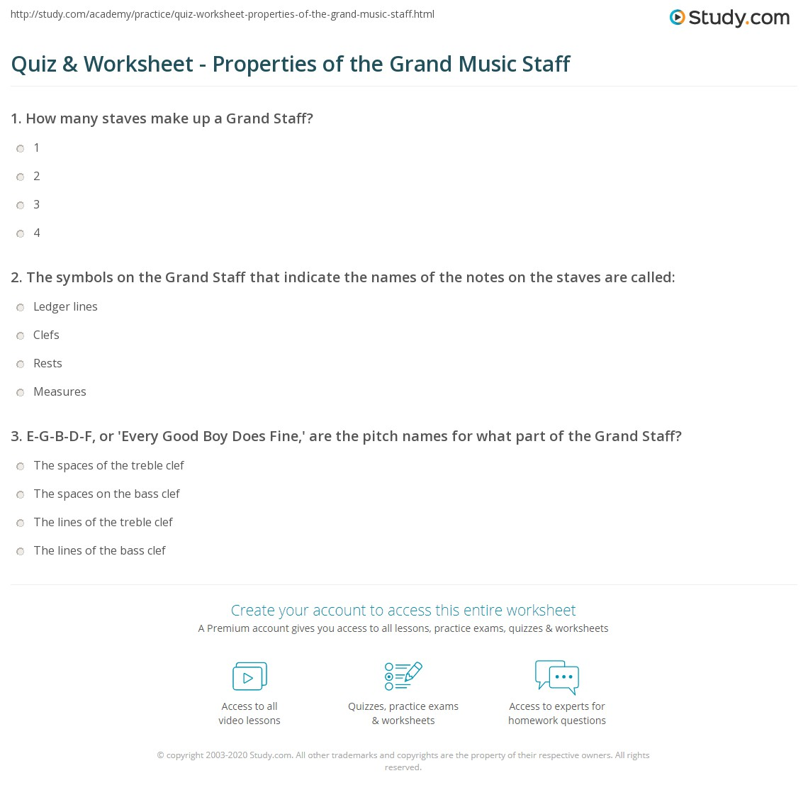 Quiz worksheet properties of the grand music staff study print grand staff in music symbols notation worksheet buycottarizona Choice Image