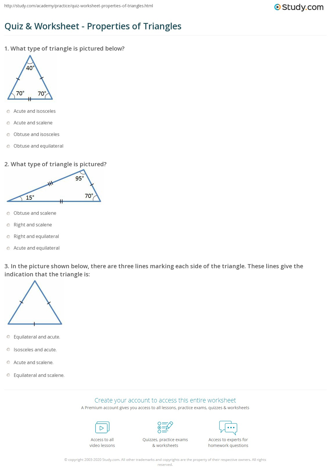 worksheet Degrees In A Triangle Worksheet quiz worksheet properties of triangles study com print shapes worksheet