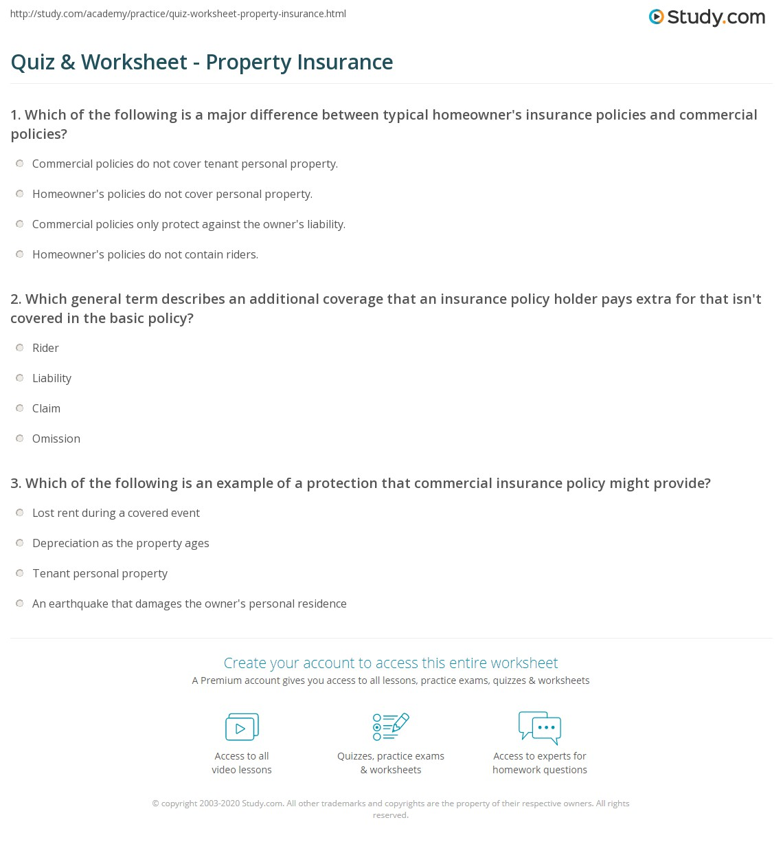 Quiz Worksheet Property Insurance Study Com