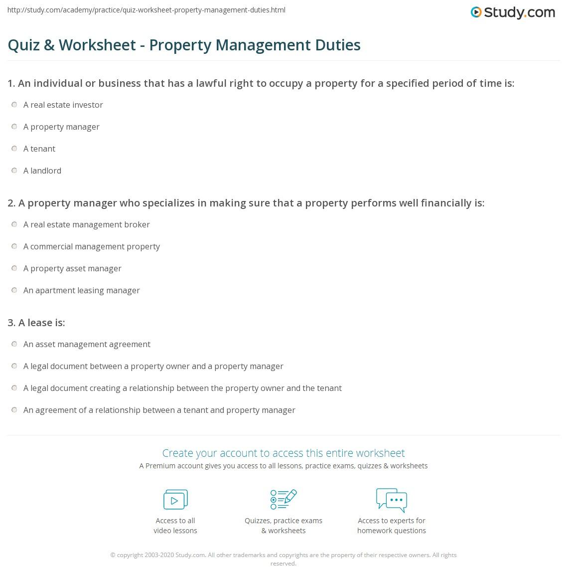 print property management overview role worksheet real estate property manager job description