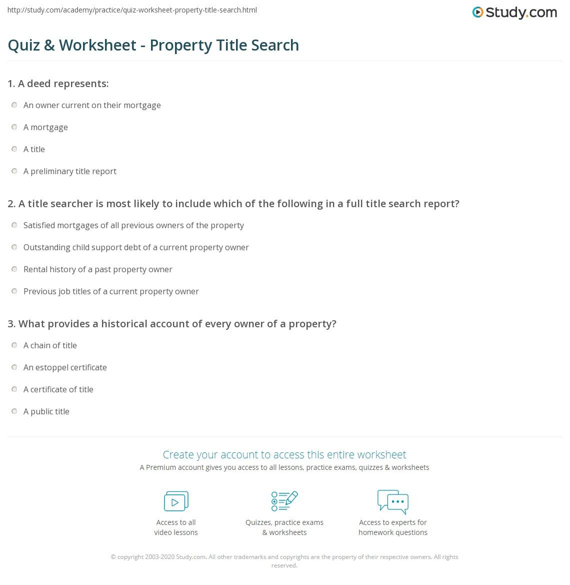 quiz worksheet property title search. Black Bedroom Furniture Sets. Home Design Ideas