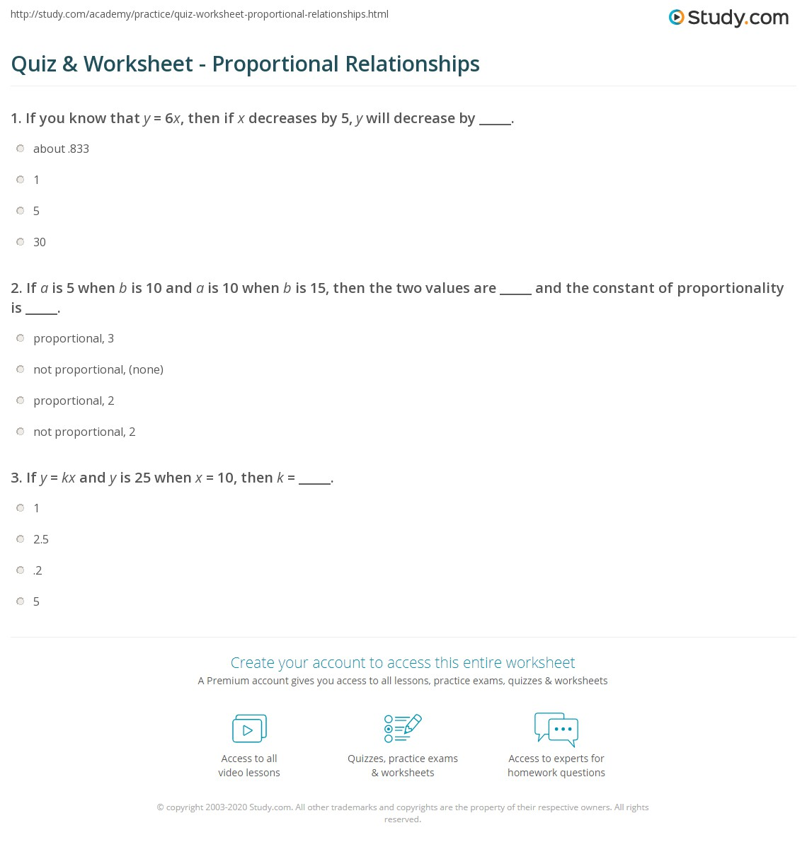 quiz & worksheet - proportional relationships | study