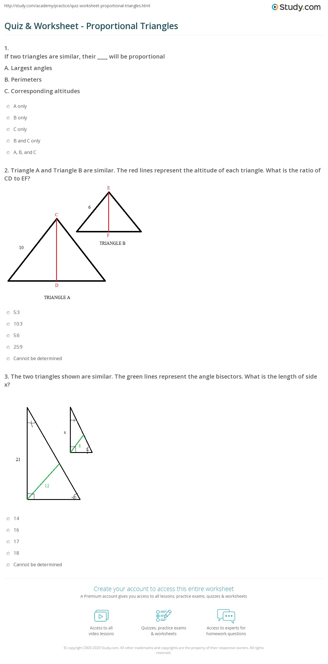 worksheet Similar Triangles Proportions Worksheet quiz worksheet proportional triangles study com print relationships in worksheet