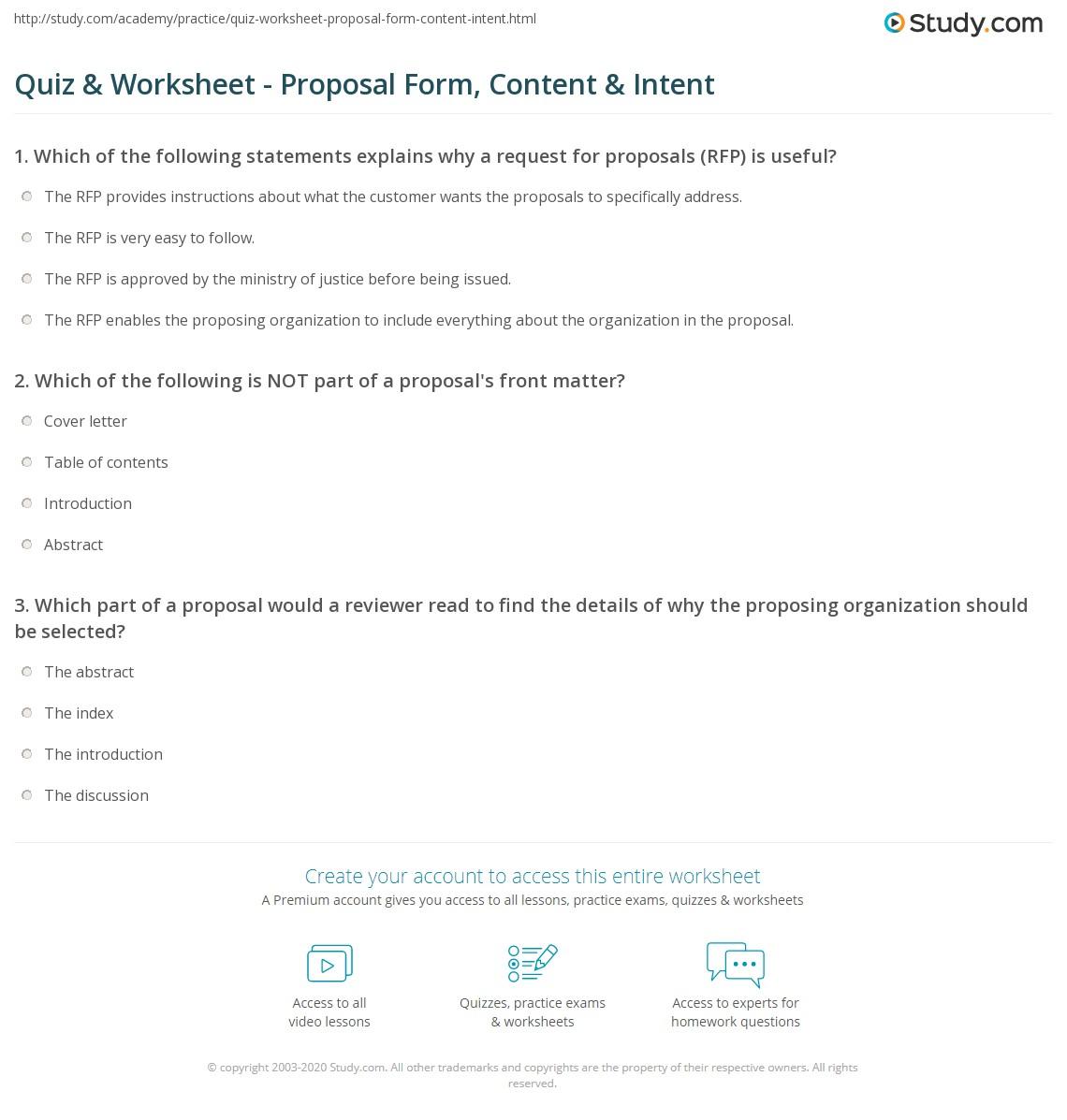 Quiz Amp Worksheet Proposal Form Content Amp Intent Study Com