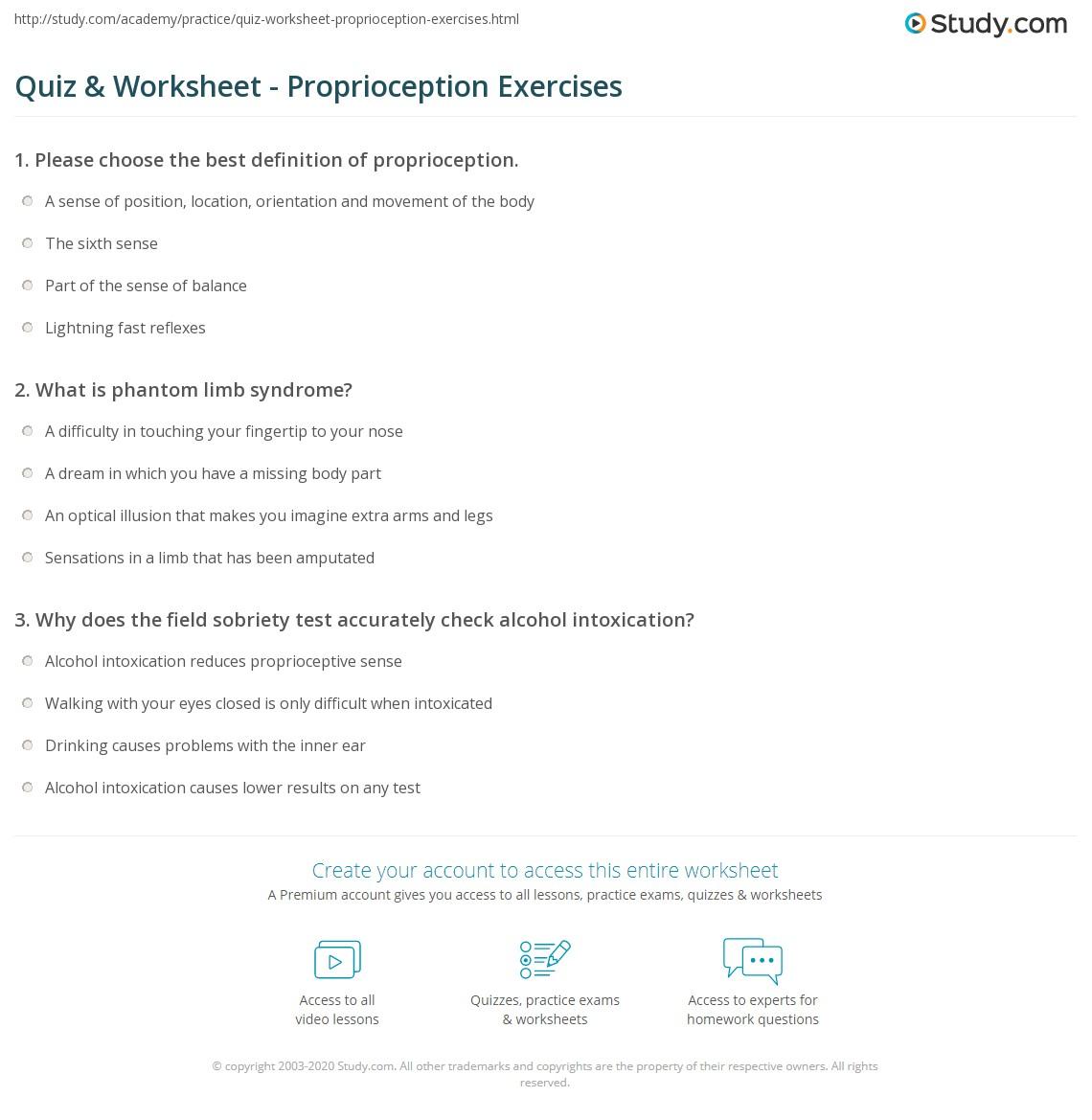Worksheets Sobriety Worksheets quiz worksheet proprioception exercises study com print definition worksheet