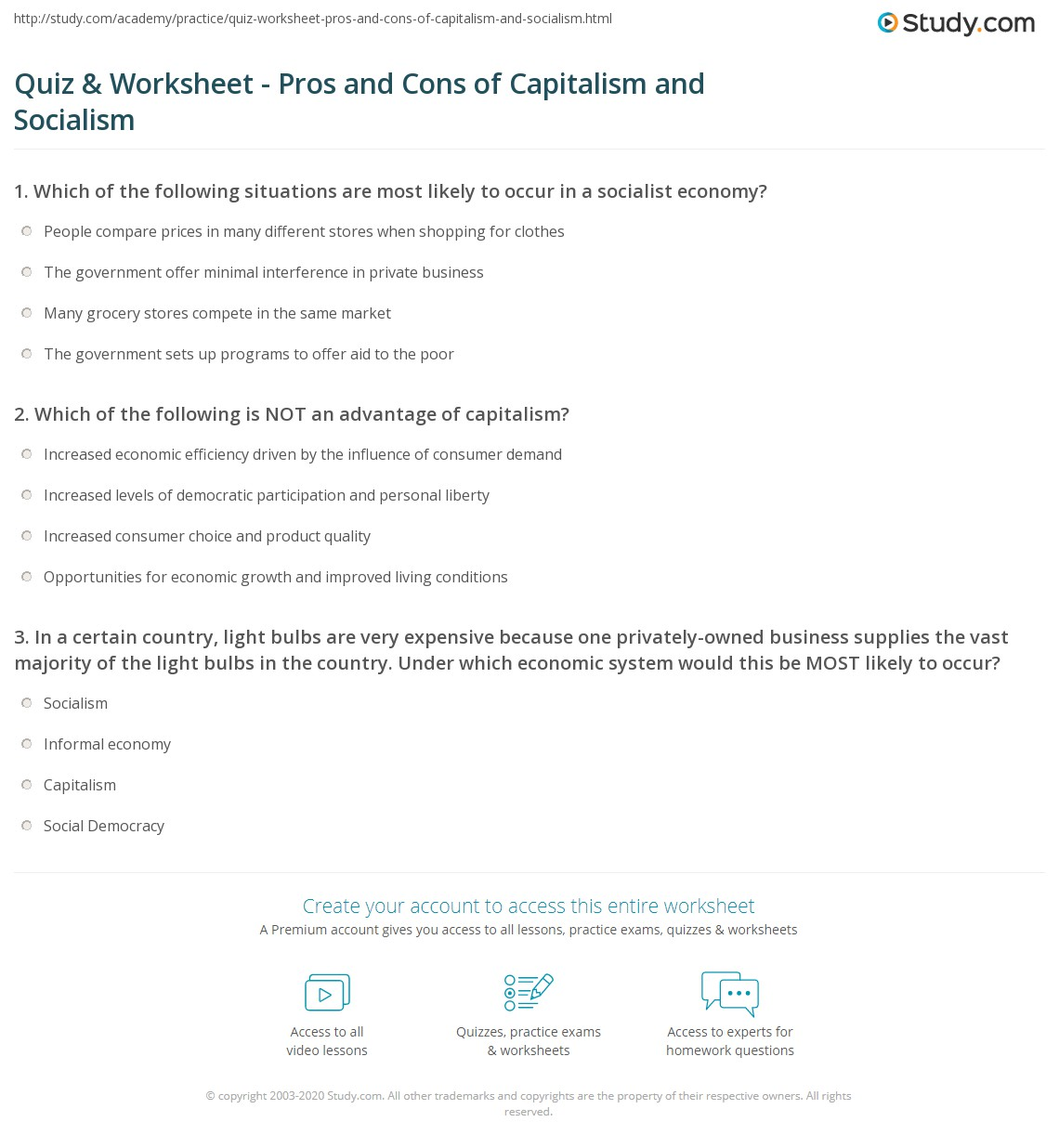 quiz worksheet pros and cons of capitalism and socialism print capitalism vs socialism differences advantages disadvantages the underground economy worksheet