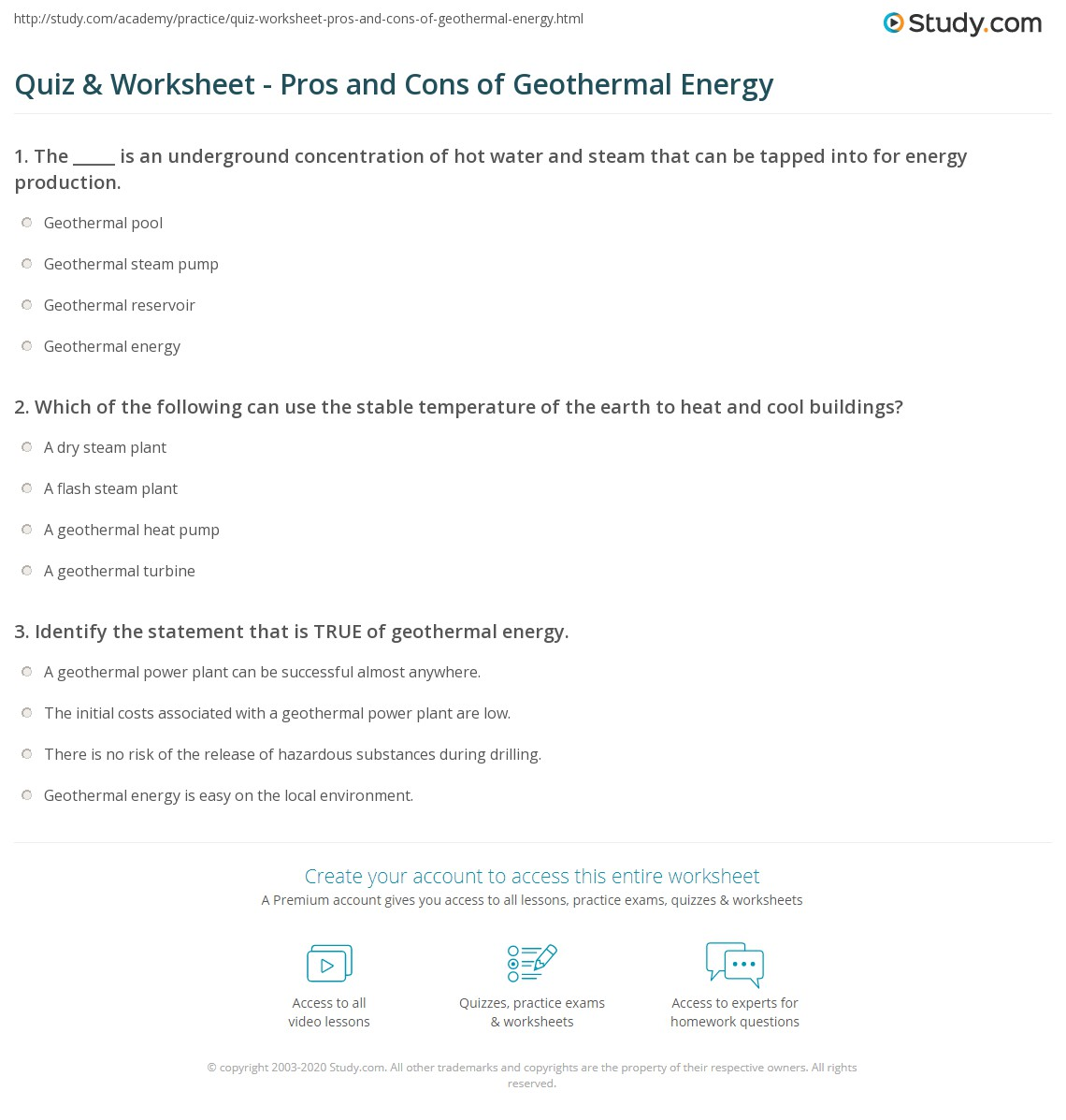 Quiz Amp Worksheet Pros And Cons Of Geothermal Energy