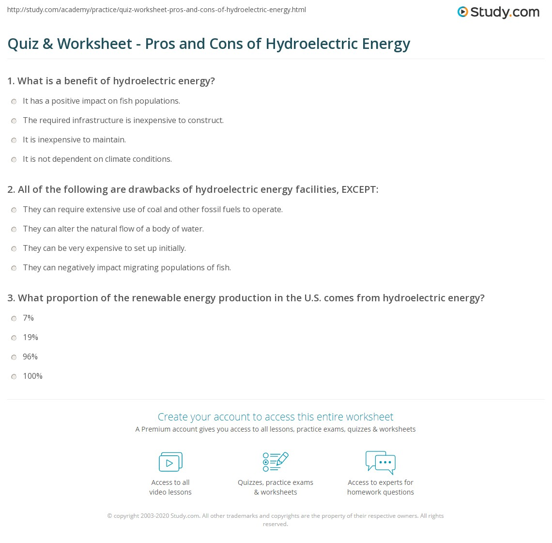 quiz & worksheet - pros and cons of hydroelectric energy | study