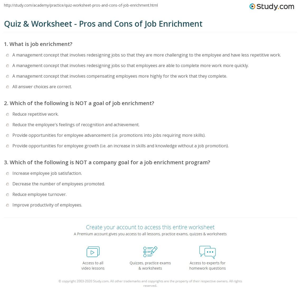 quiz worksheet pros and cons of job enrichment. Black Bedroom Furniture Sets. Home Design Ideas