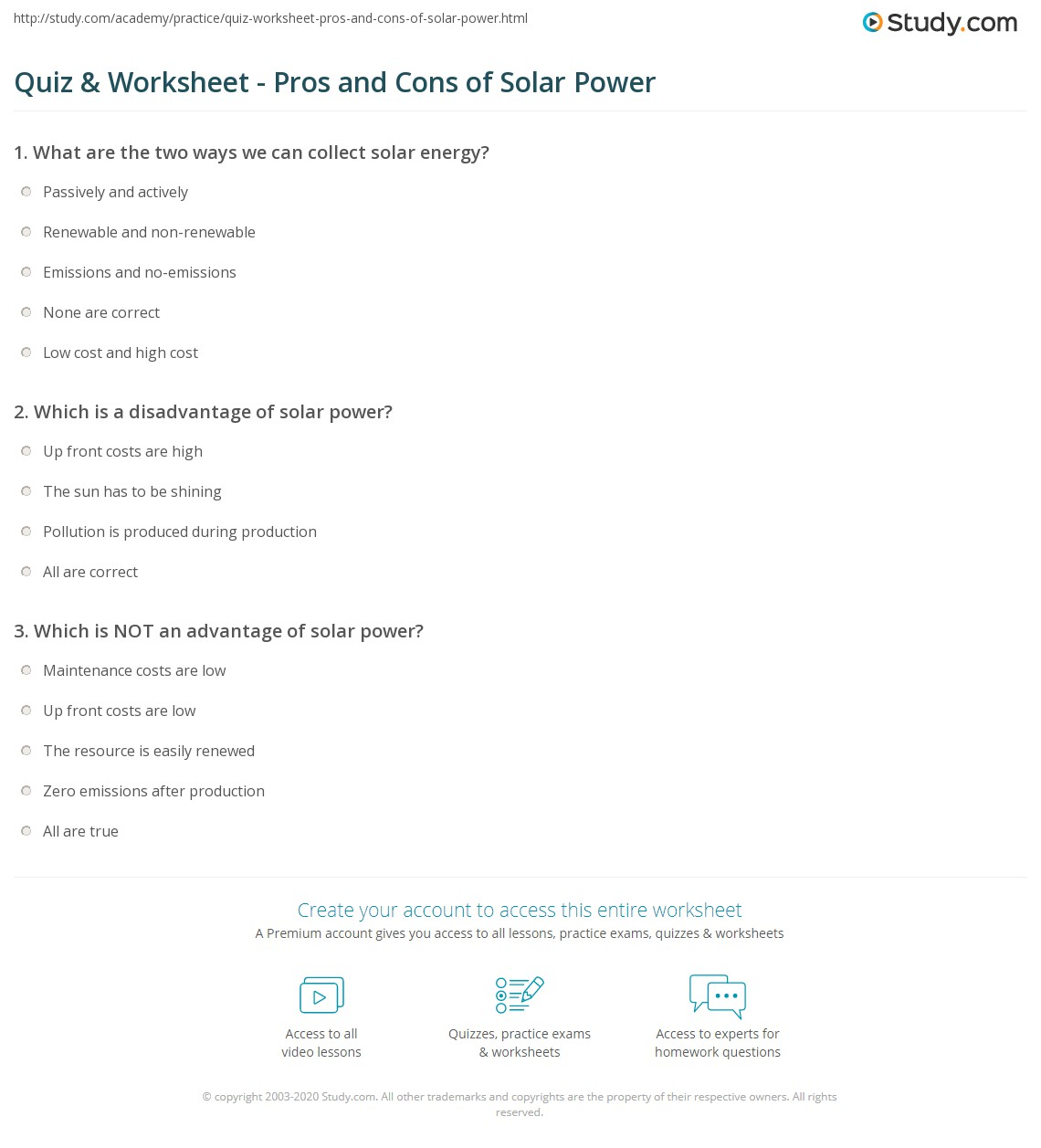 Quiz & Worksheet - Pros and Cons of Solar Power | Study com