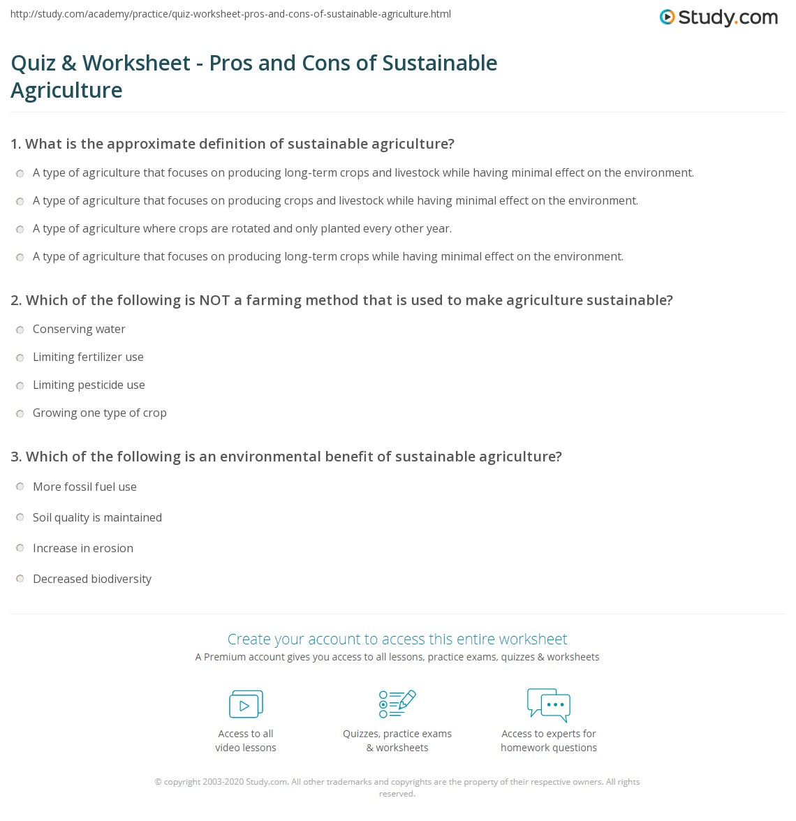 quiz worksheet pros and cons of sustainable agriculture. Black Bedroom Furniture Sets. Home Design Ideas