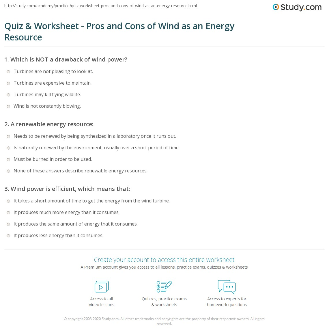 Quiz Worksheet Pros And Cons Of Wind As An Energy