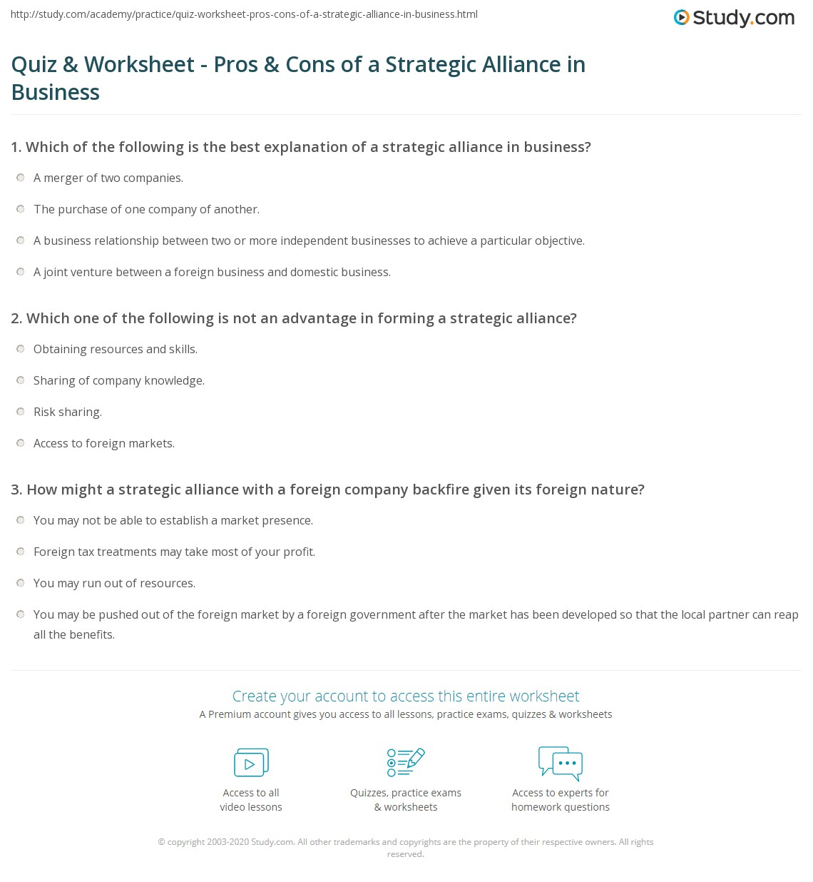 quiz & worksheet - pros & cons of a strategic alliance in business