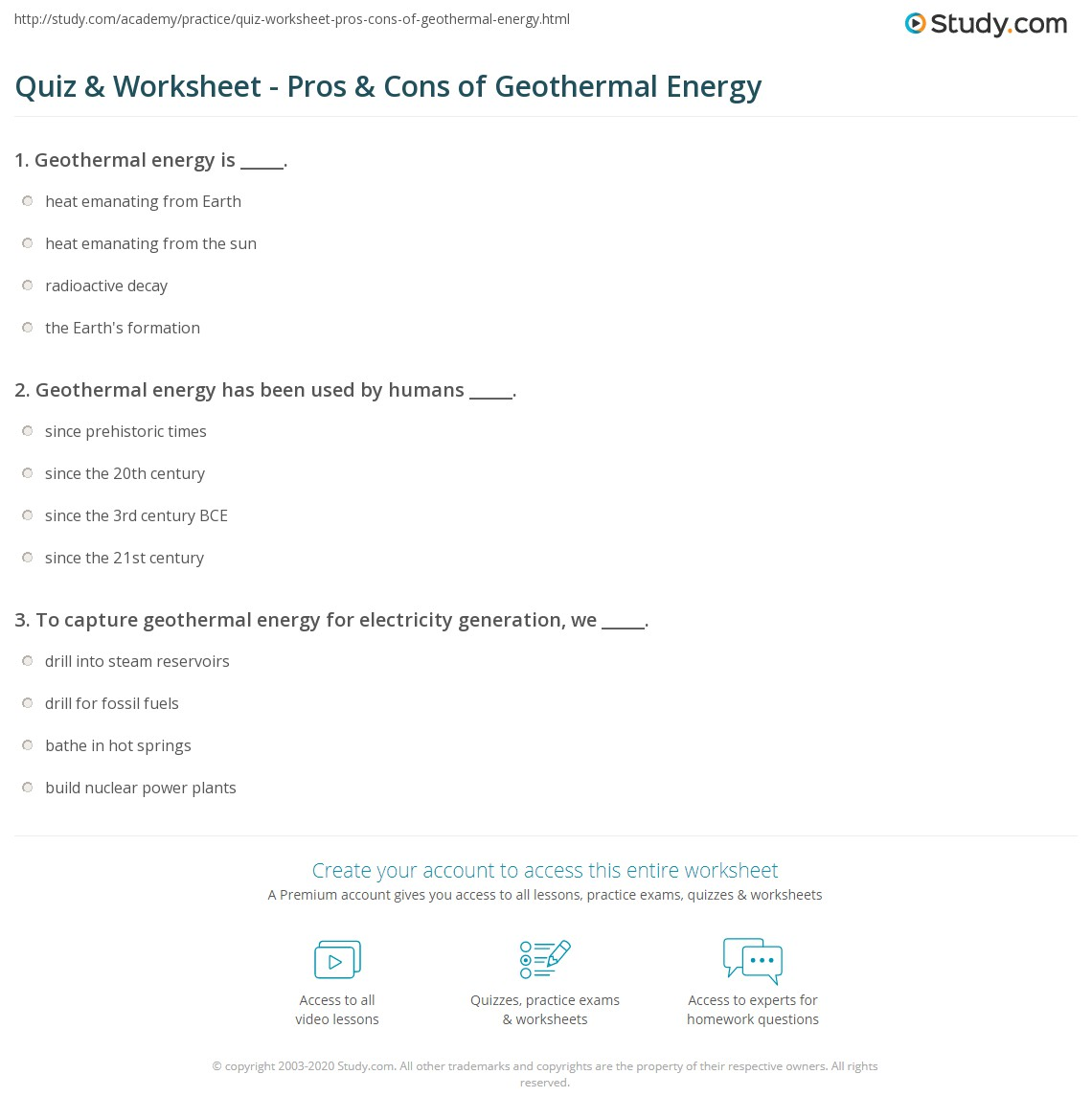 Quiz worksheet pros cons of geothermal energy study print what is geothermal energy definition advantages disadvantages worksheet ccuart Choice Image