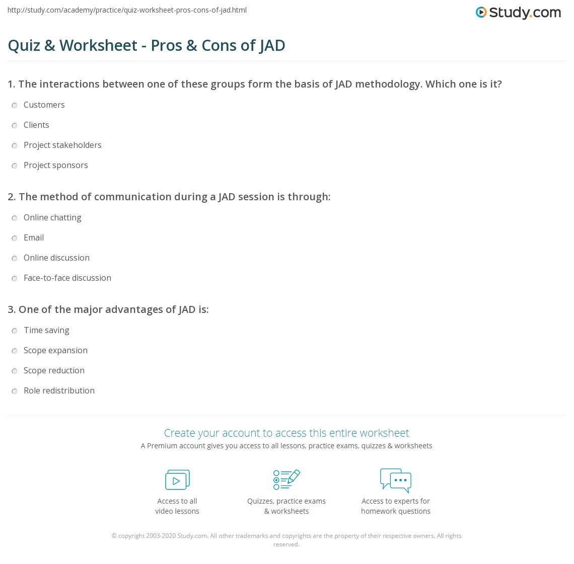 Quiz Worksheet Pros Cons Of Jad Study Com